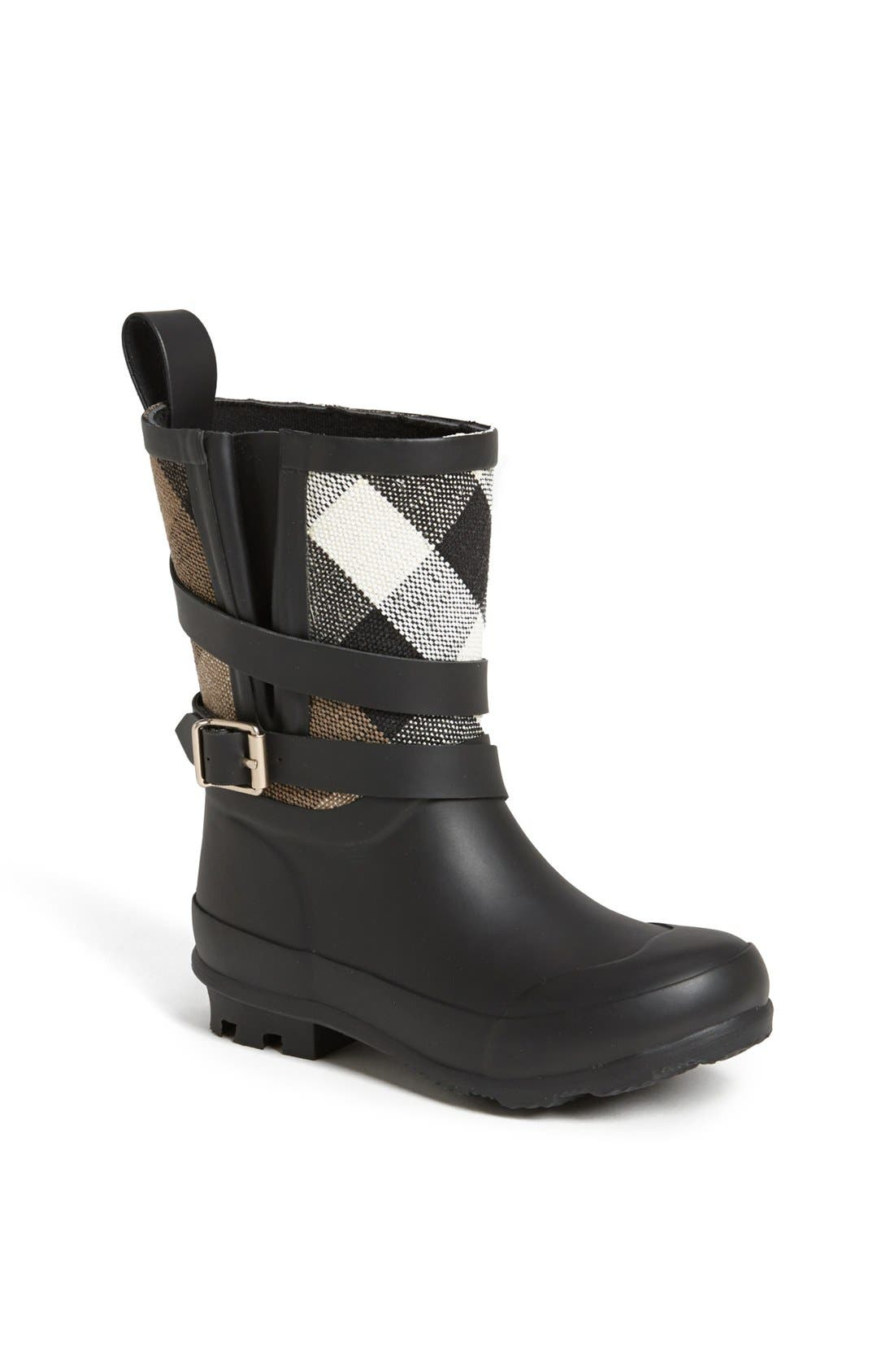 BURBERRY 'Holloway' Rain Boot, Main, color, 001