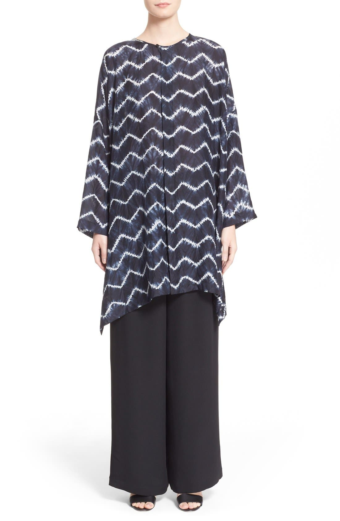 ESKANDAR, Chevron Shibori Silk Tunic, Alternate thumbnail 4, color, 411