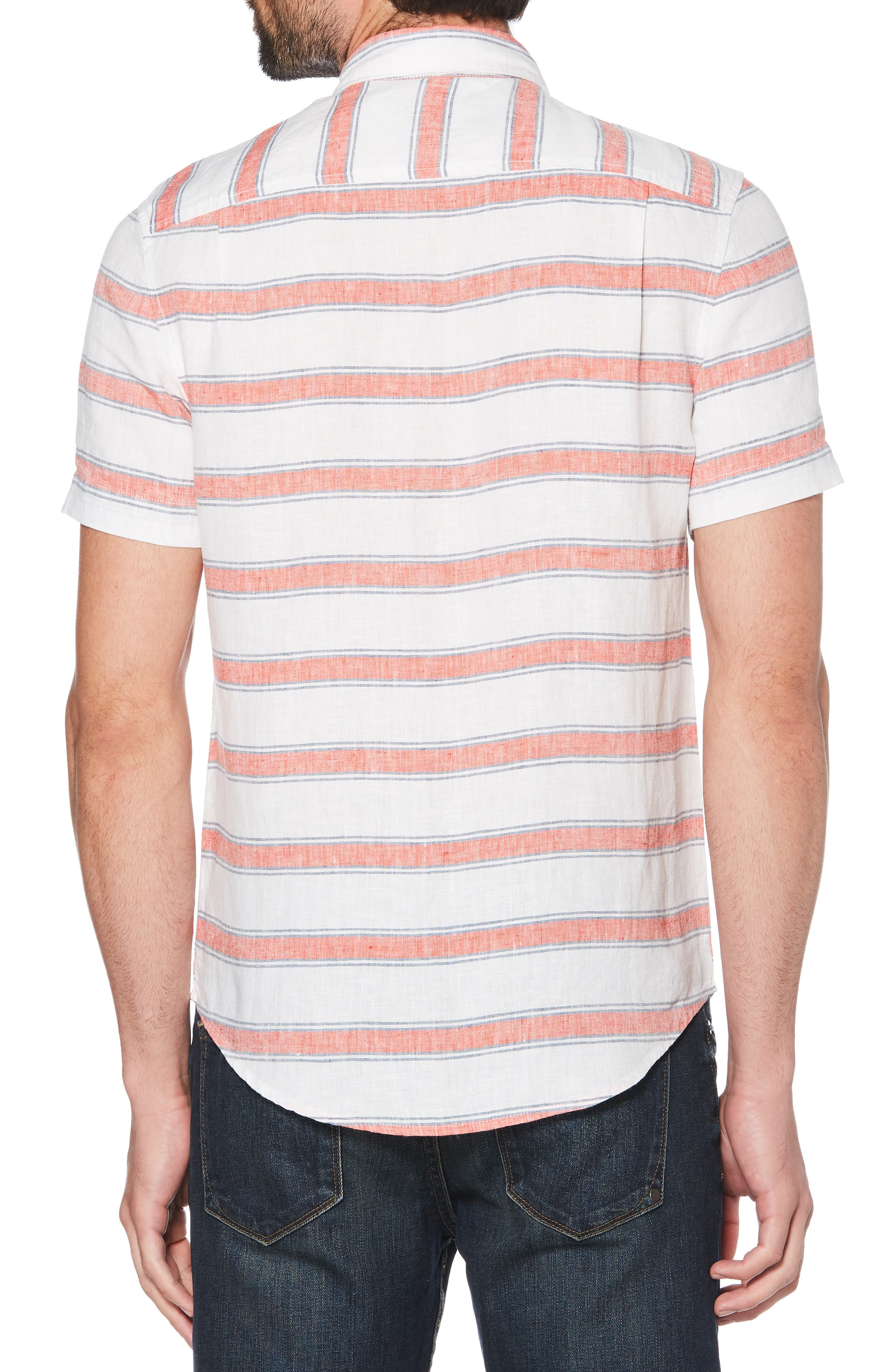 ORIGINAL PENGUIN, Horizontal Stripe Linen Shirt, Alternate thumbnail 3, color, BRIGHT WHITE