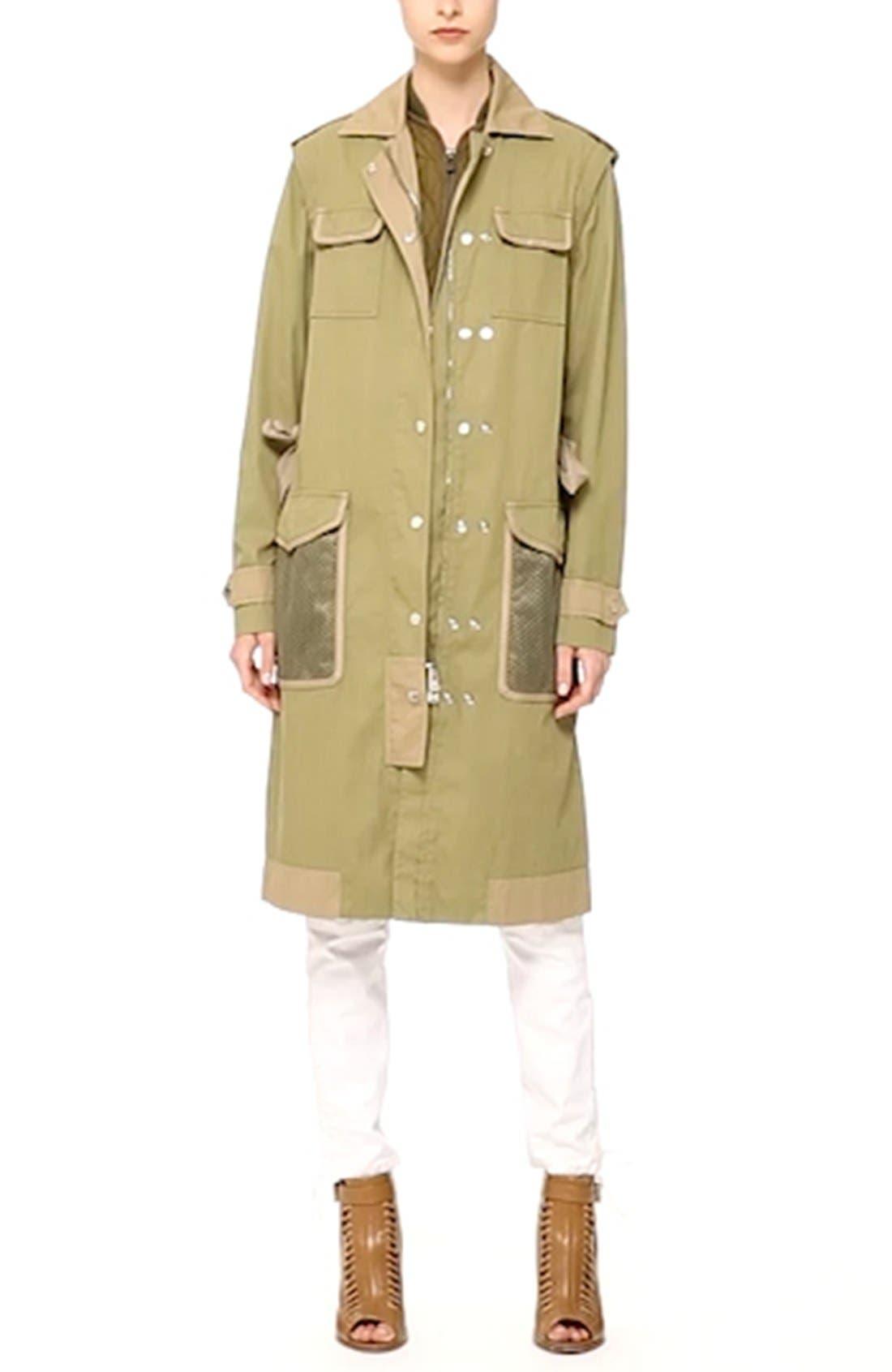 BELSTAFF, Leather Trim Tactical Cotton Gabardine Coat, Alternate thumbnail 3, color, 309