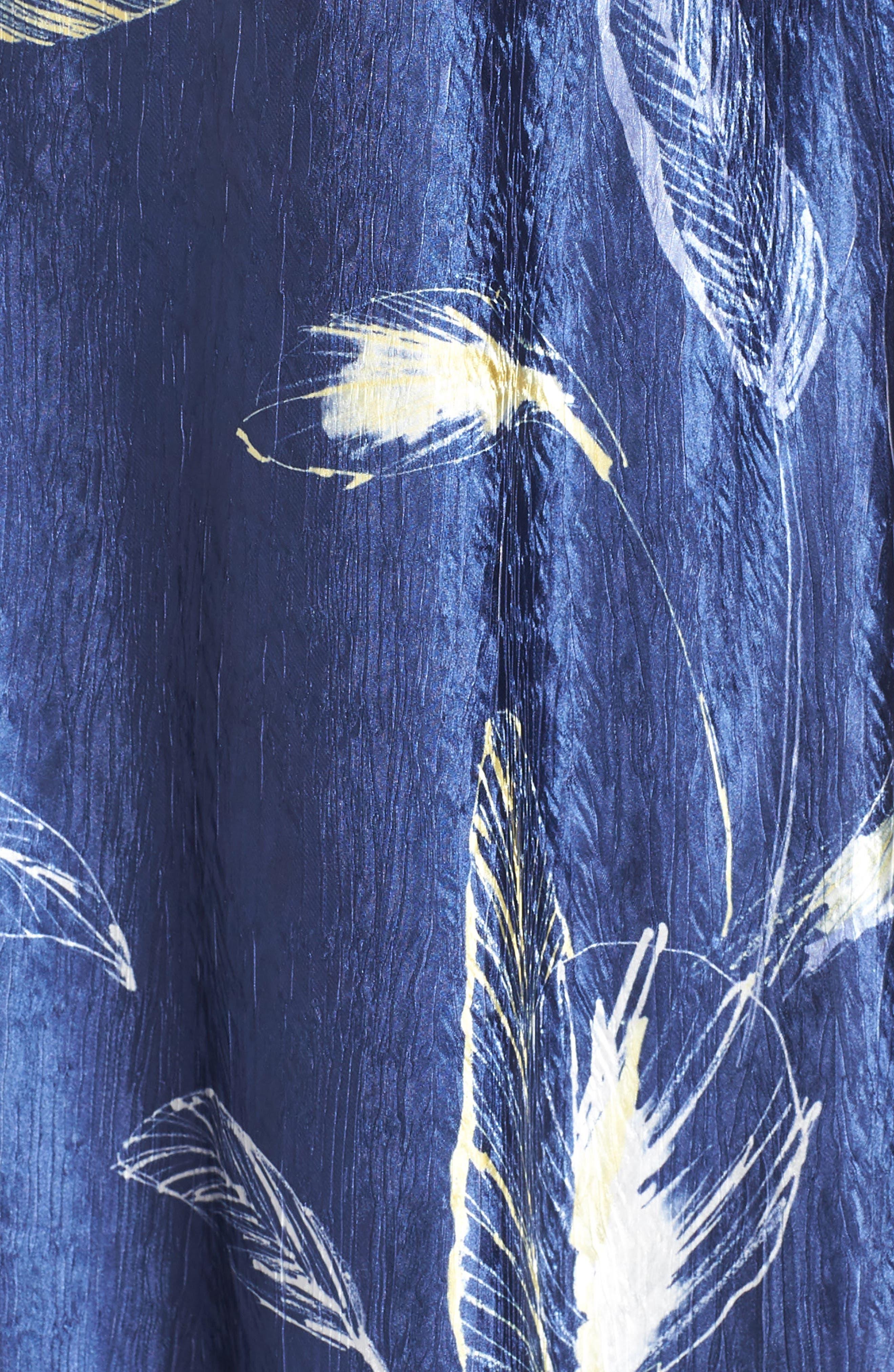 KOMAROV, Print Charmeuse A-Line Dress, Alternate thumbnail 6, color, INDIGO TROPIC