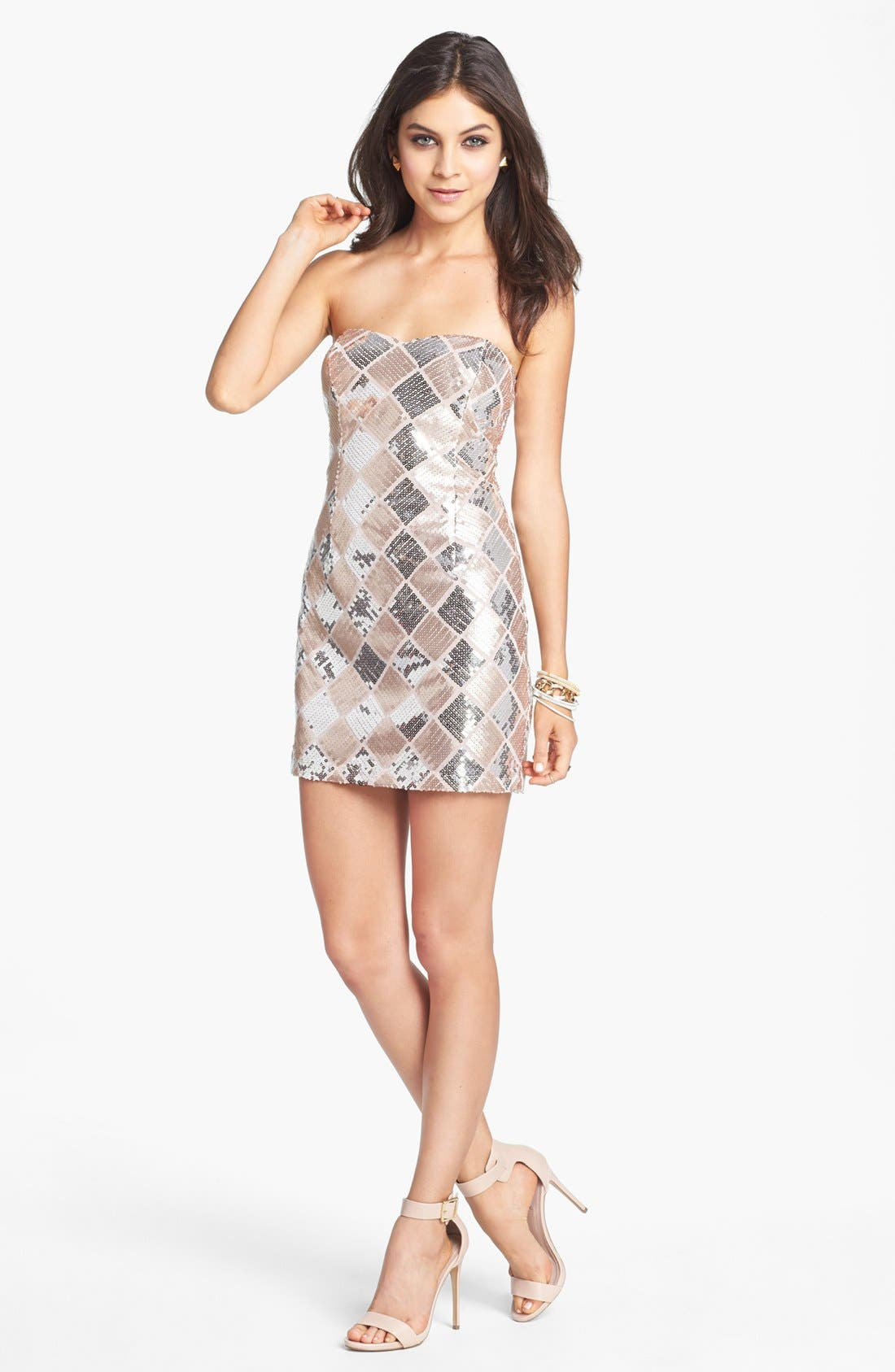 TRIXXI, Checkered Sequin Tube Dress, Main thumbnail 1, color, 660