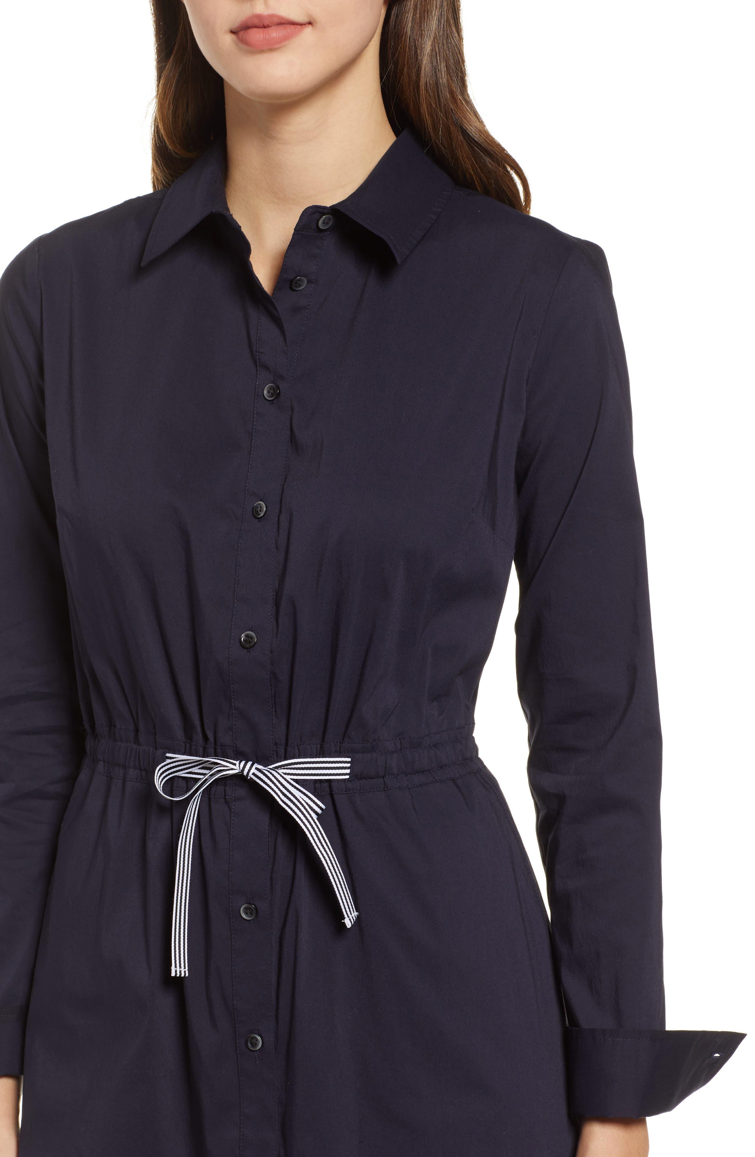 1901, Tie Waist Shirtdress, Alternate thumbnail 5, color, NAVY NIGHT
