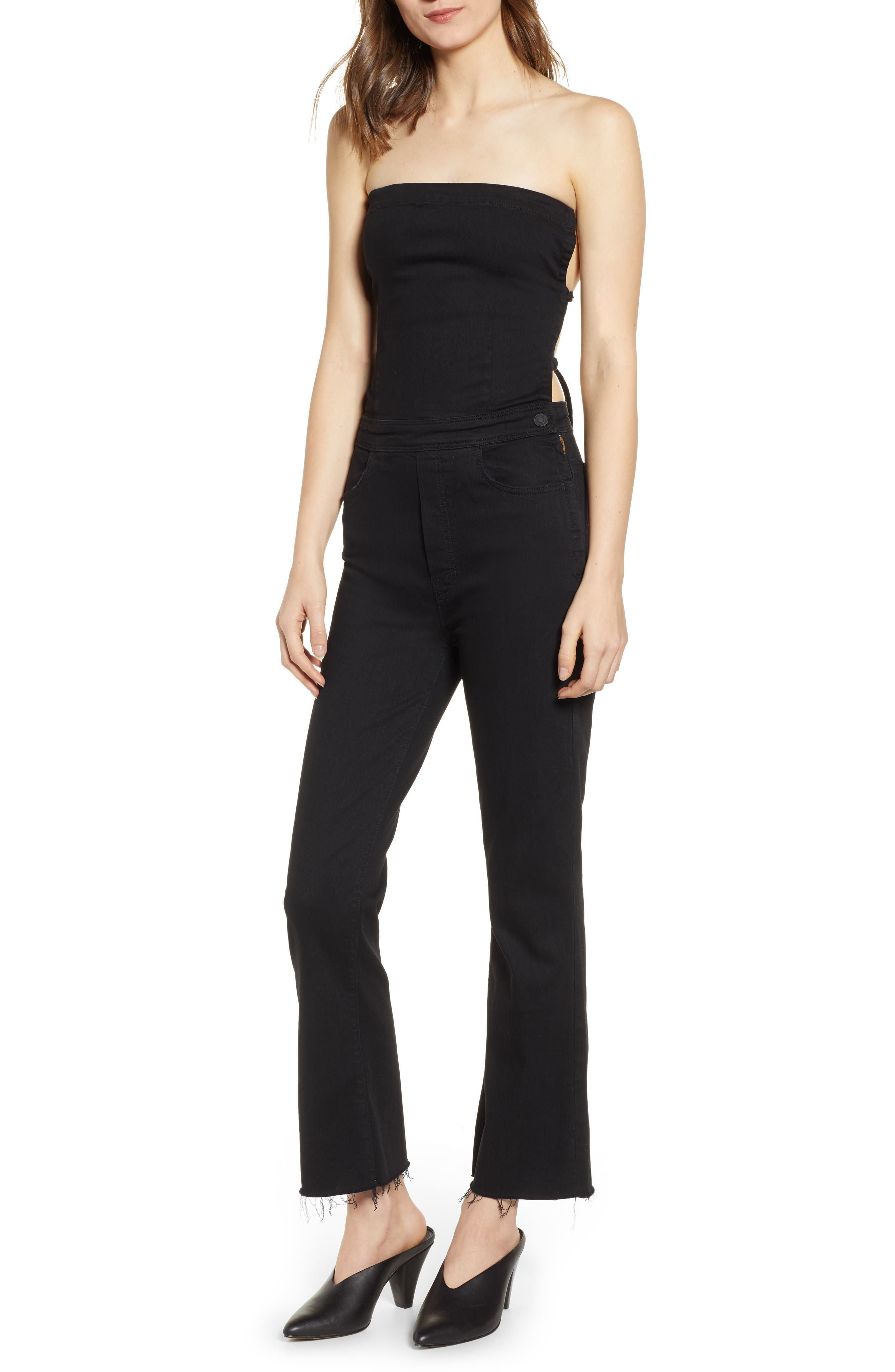 MOTHER, The Tie Back Hustler Ankle Fray Jumpsuit, Main thumbnail 1, color, 001