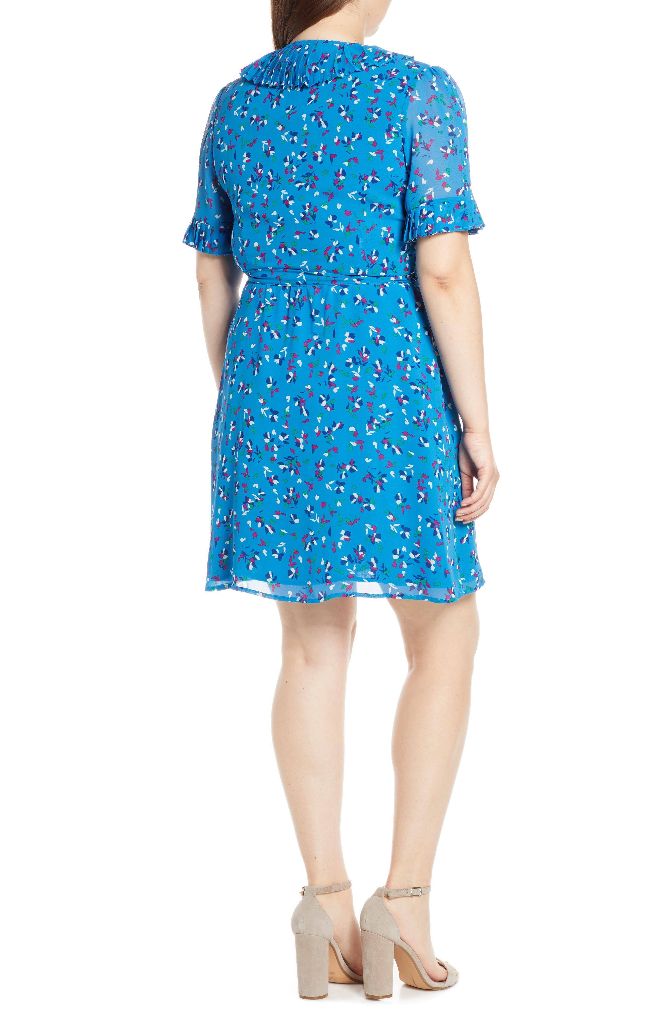 CHARLES HENRY, Pleat Neck Wrap Dress, Alternate thumbnail 9, color, BLUE FLORAL DITZY