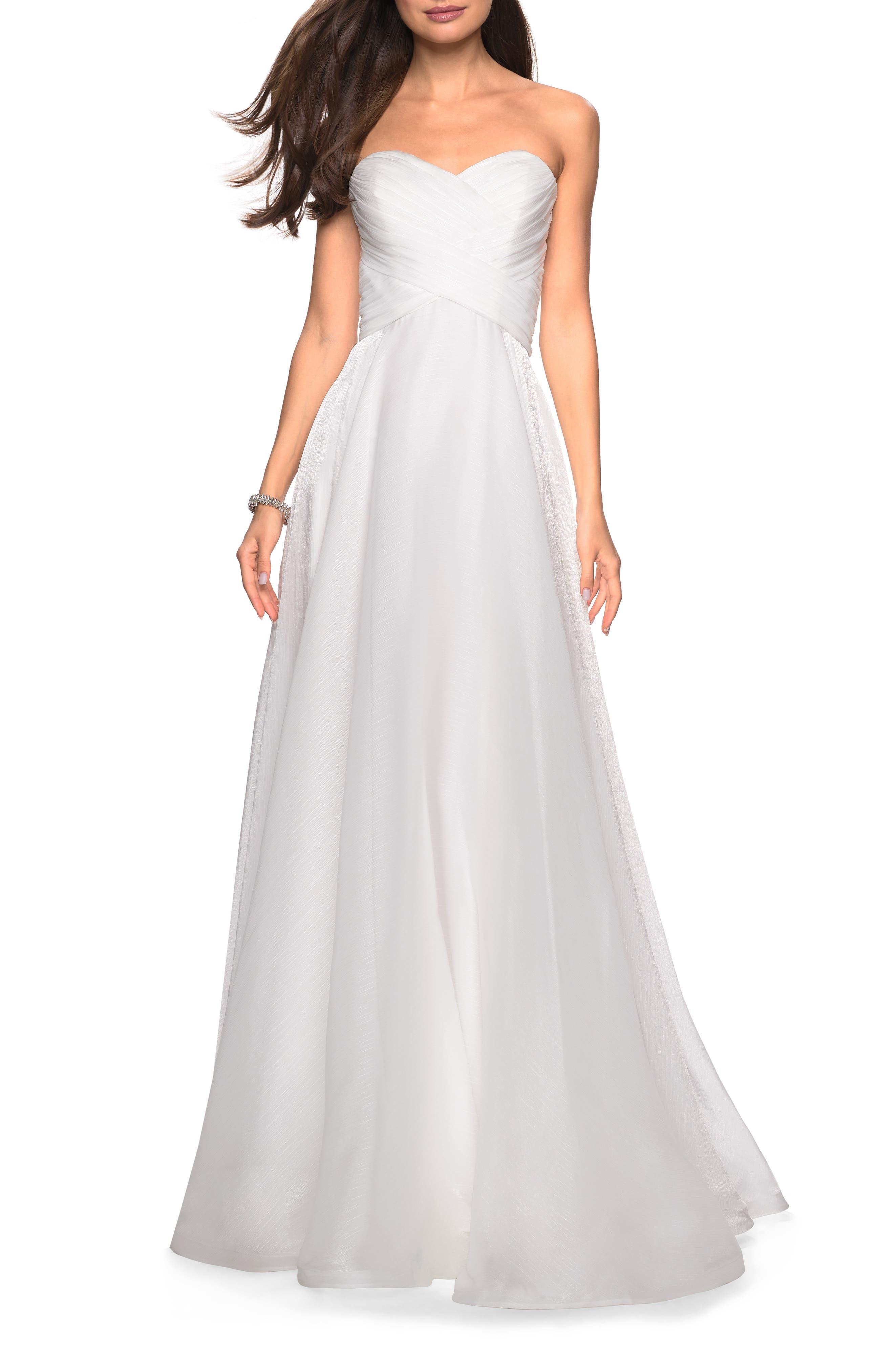 LA FEMME Strapless Metallic Chiffon Evening Dress, Main, color, WHITE