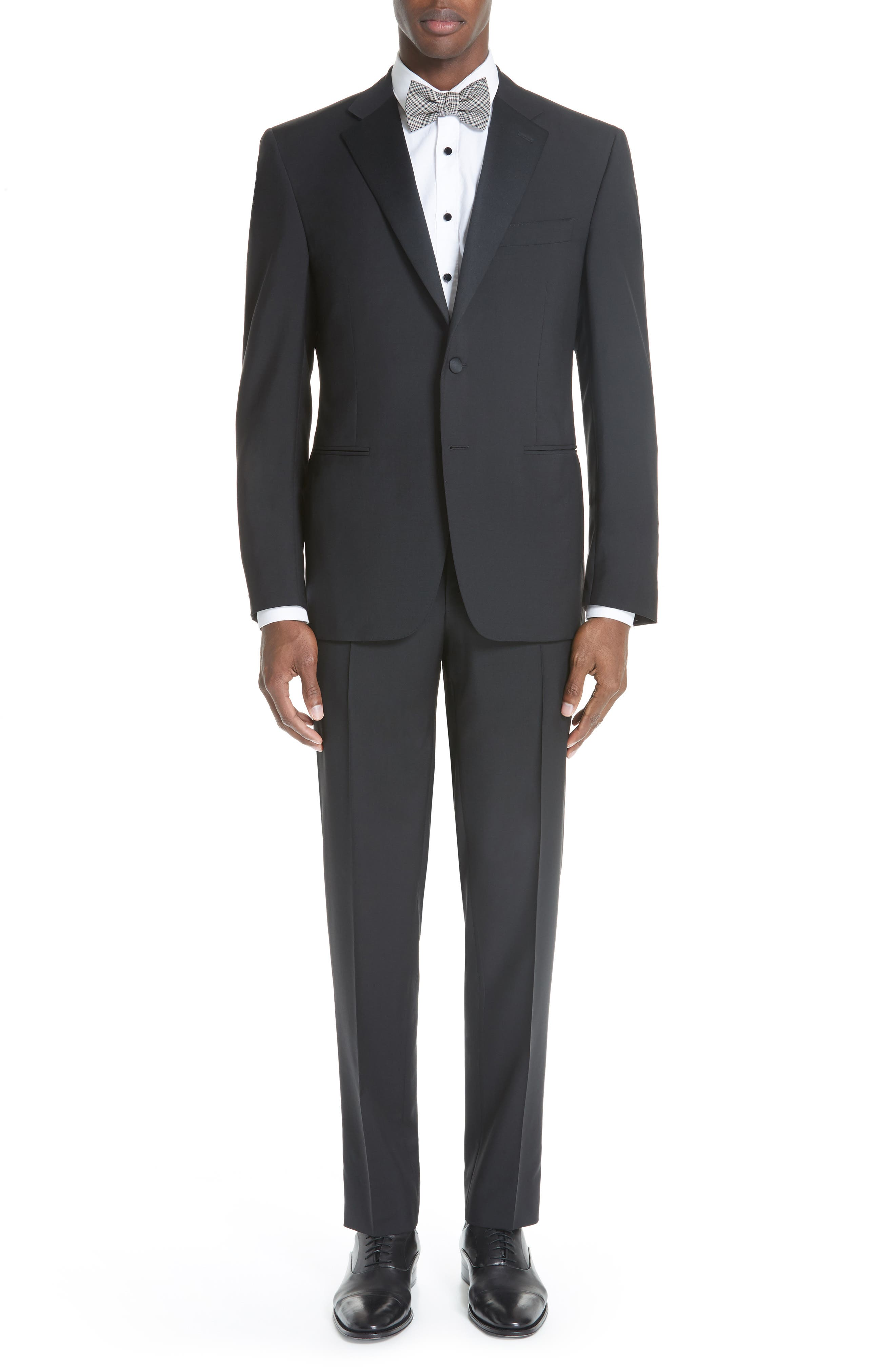 CANALI 13000 Classic Fit Wool & Mohair Tuxedo, Main, color, BLACK