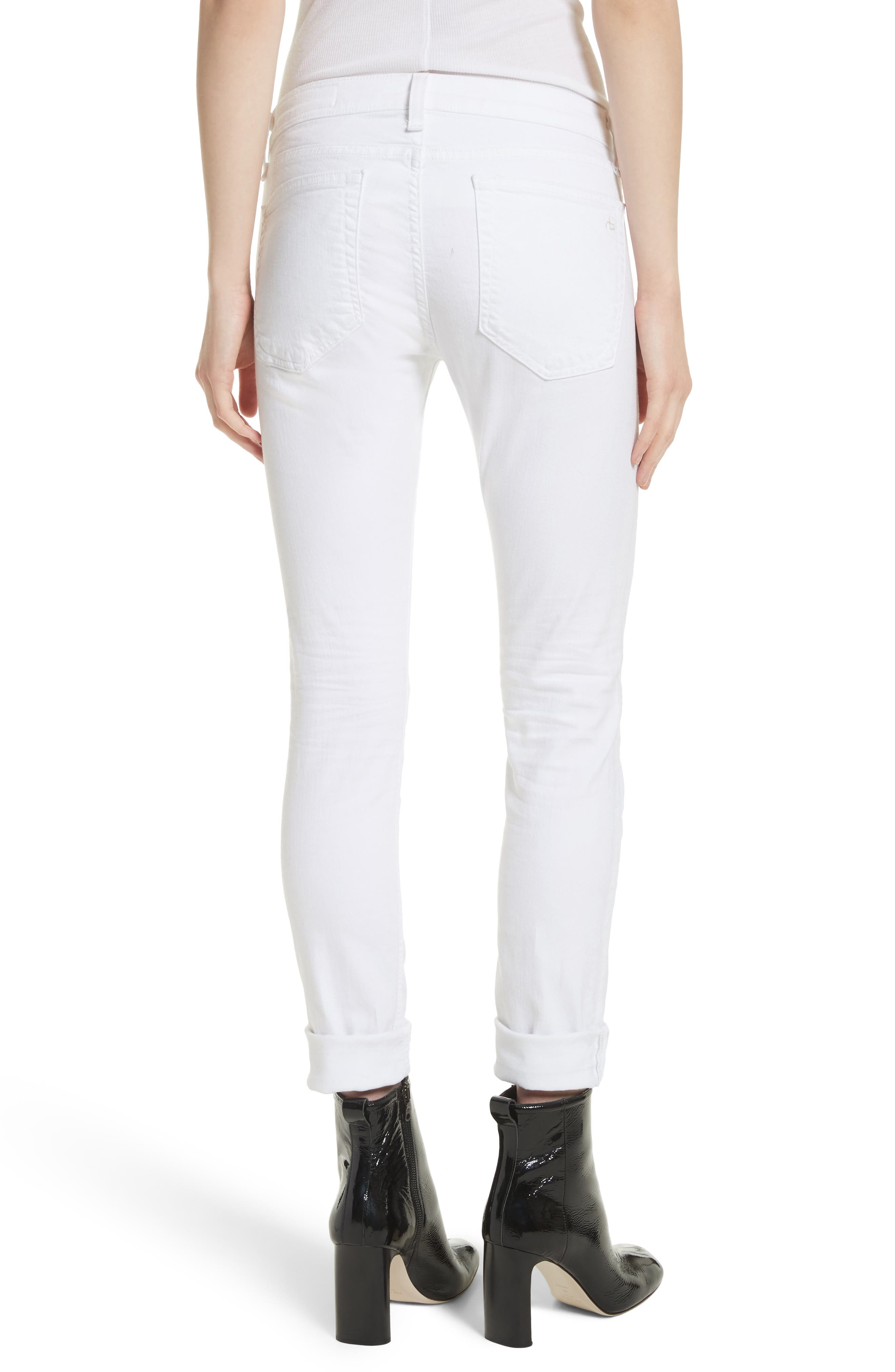 RAG & BONE, 'The Dre' Skinny Jeans, Alternate thumbnail 2, color, BRIGHT WHITE