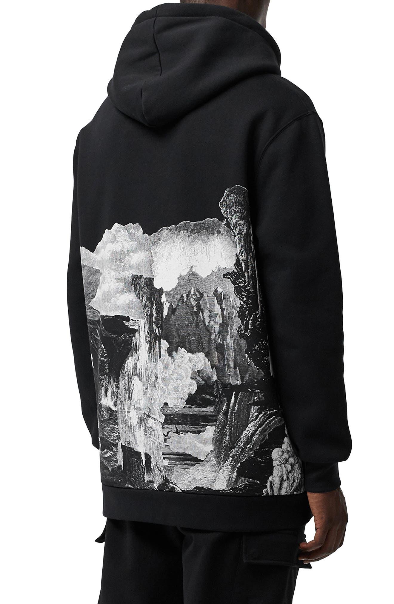 BURBERRY, Dreamscape Print Hooded Sweatshirt, Main thumbnail 1, color, BLACK