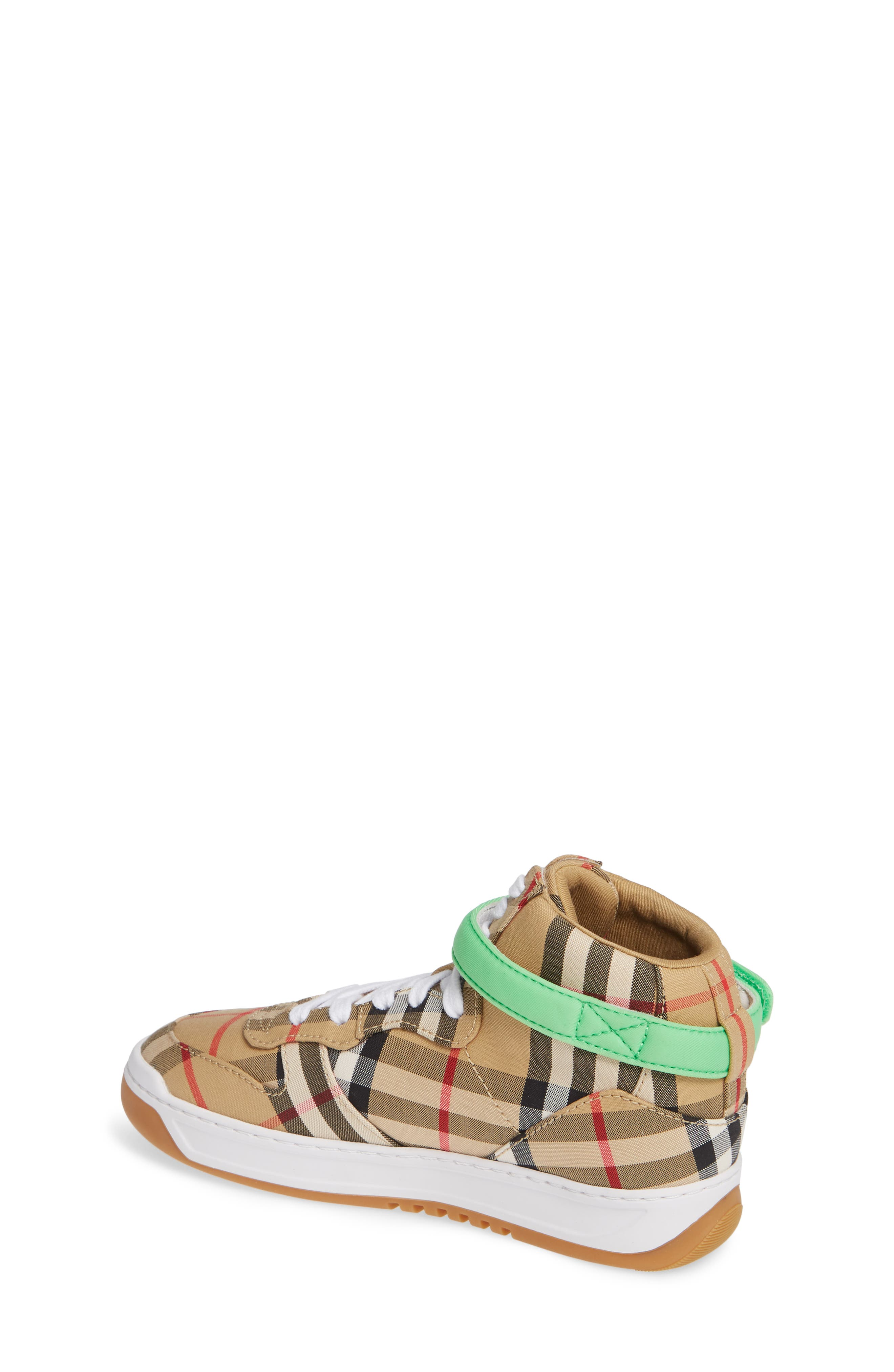 BURBERRY, Groves High Top Sneaker, Alternate thumbnail 2, color, NEON GREEN