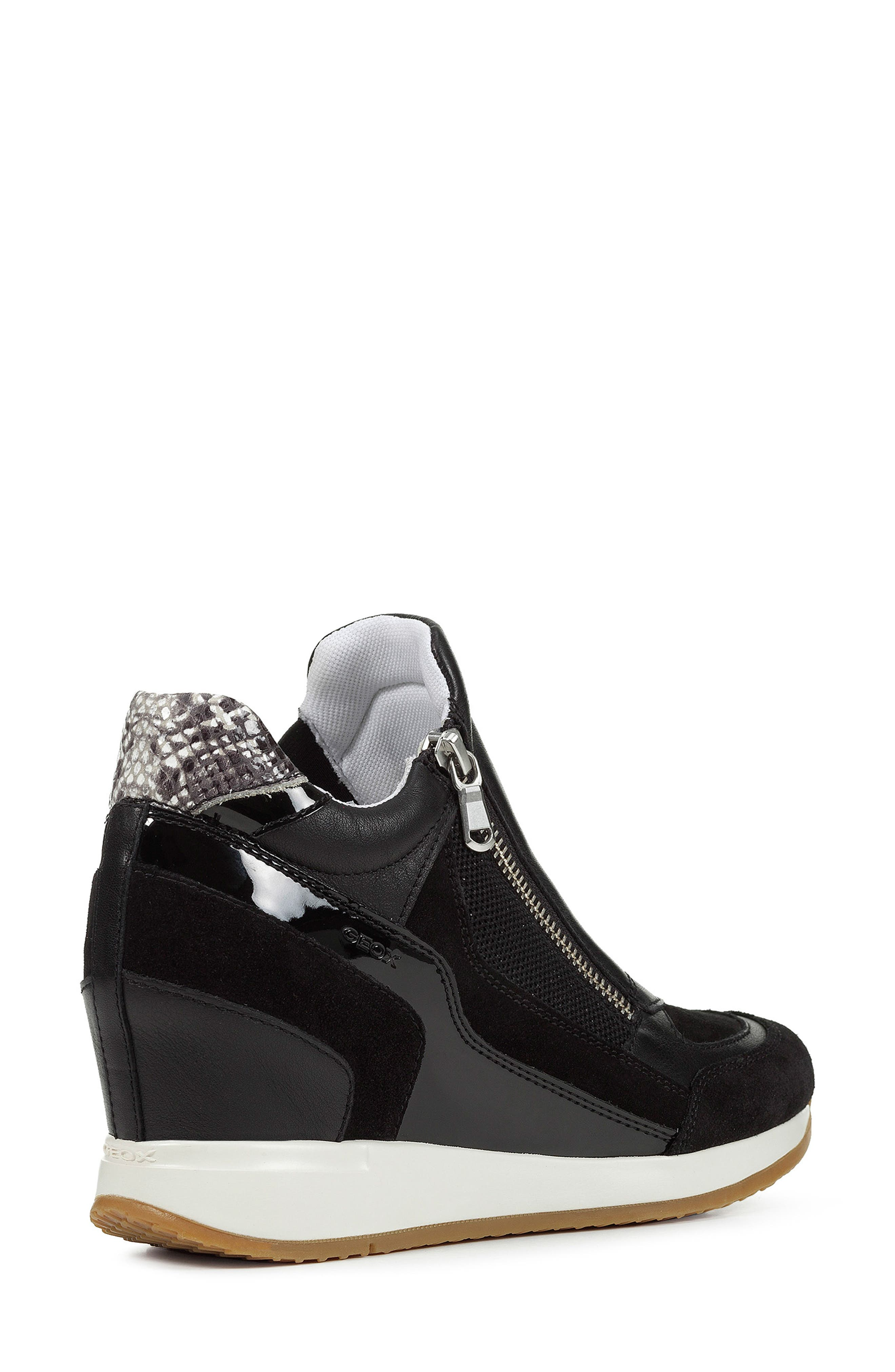 GEOX, Nydame Wedge Sneaker, Alternate thumbnail 7, color, BLACK/ BLACK LEATHER