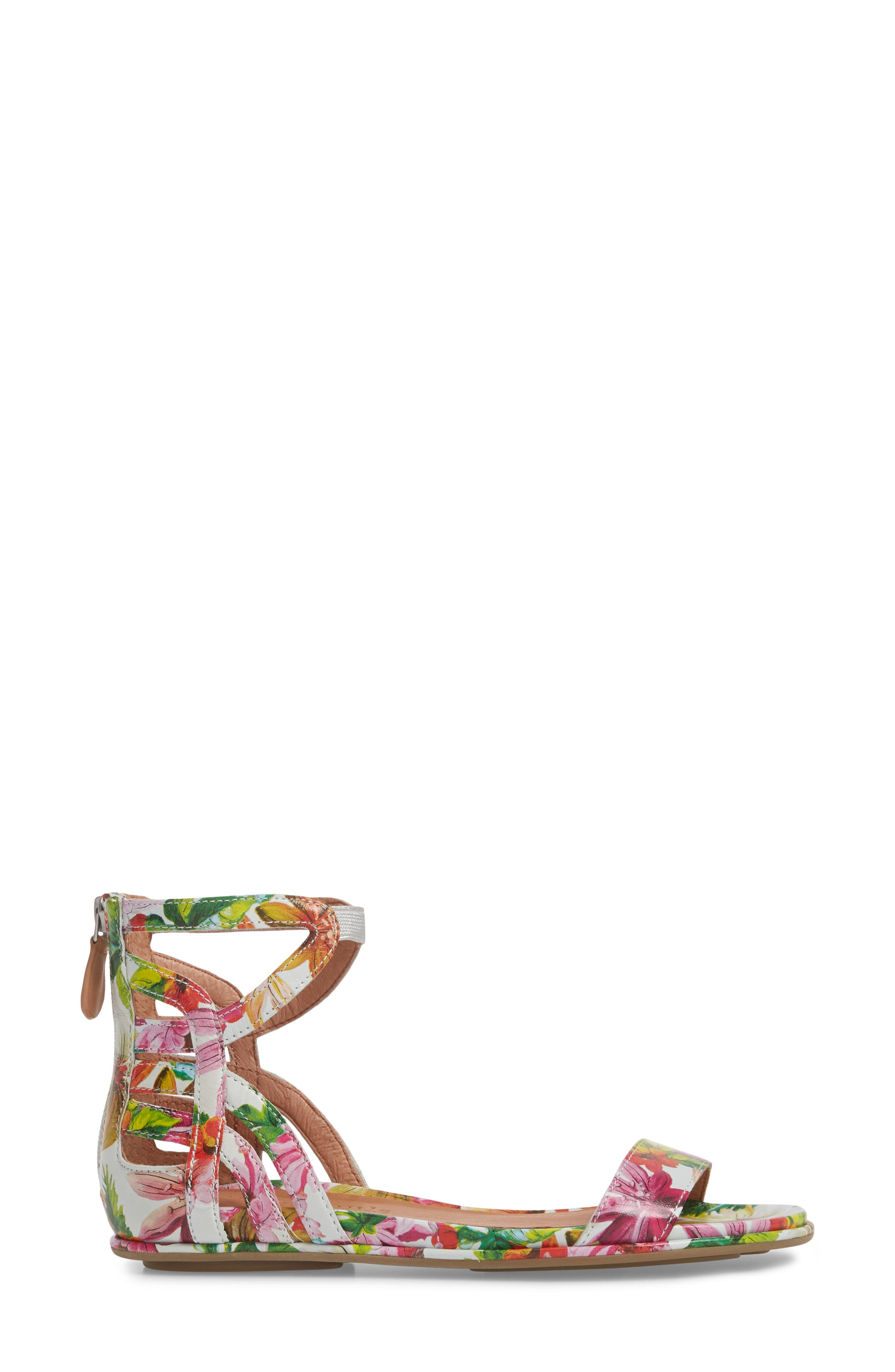 GENTLE SOULS BY KENNETH COLE, Larissa Sandal, Alternate thumbnail 3, color, PALM PRINTED LEATHER