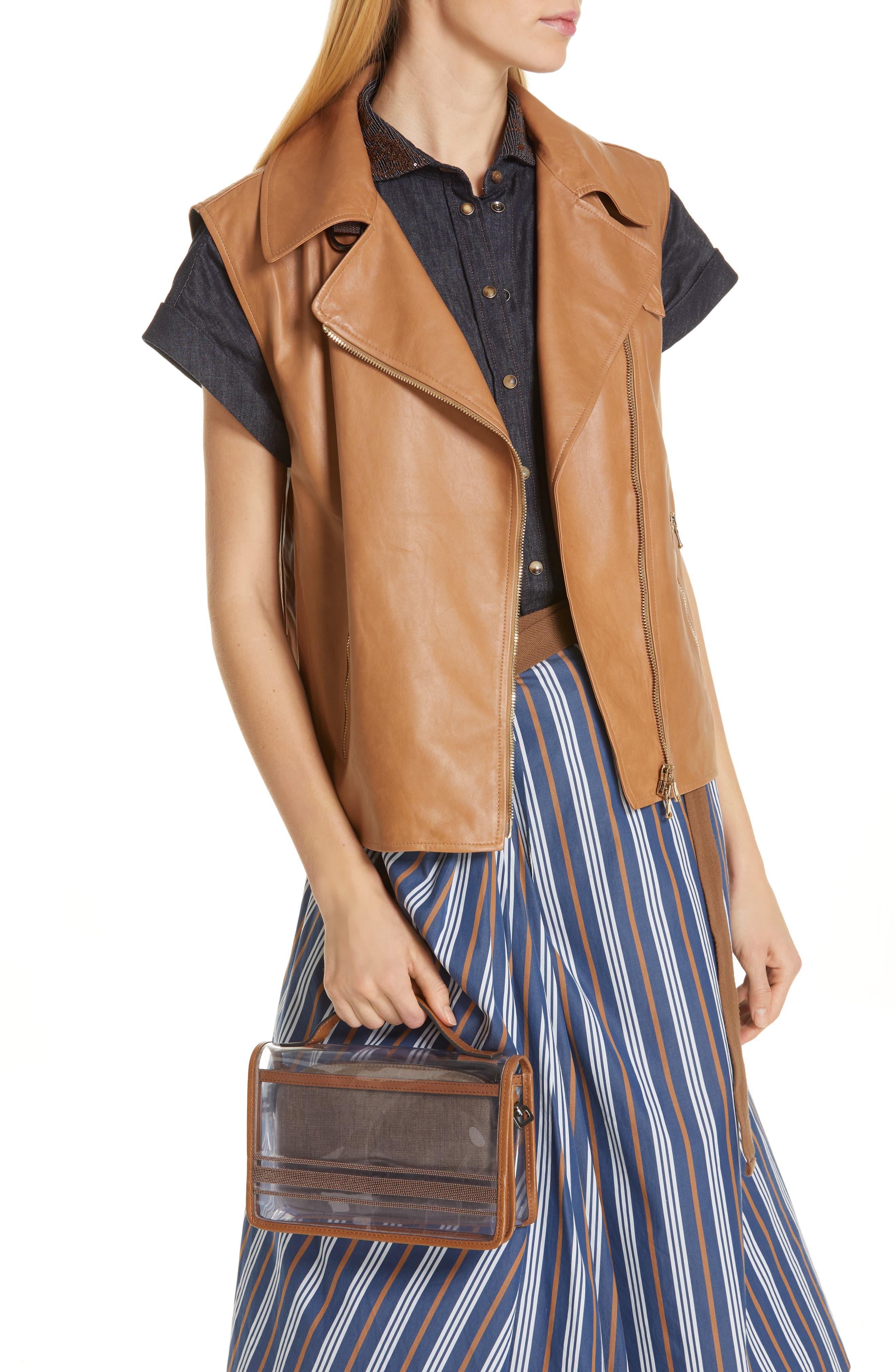 BRUNELLO CUCINELLI, Monili & Leather Trim Clear Shoulder Bag, Alternate thumbnail 2, color, LT BROWN