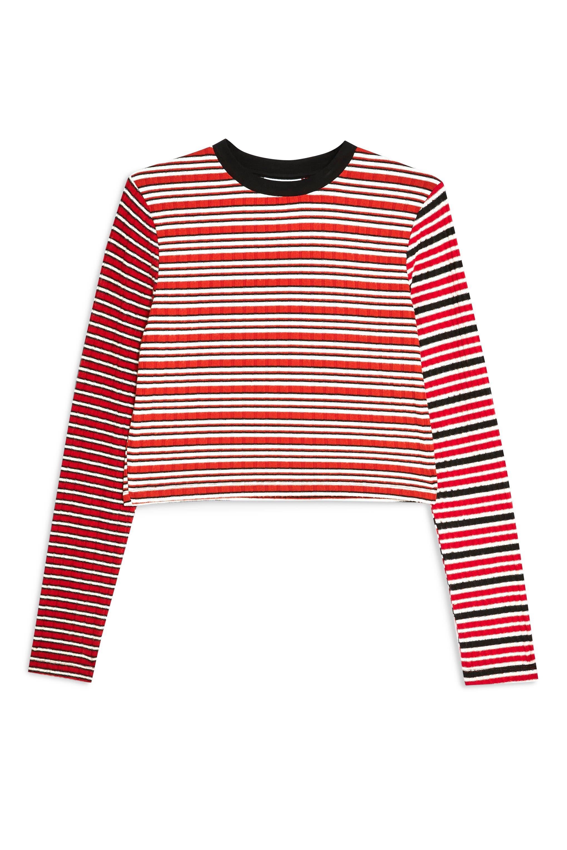 TOPSHOP, Mix Stripe Long Sleeve Top, Alternate thumbnail 3, color, 640