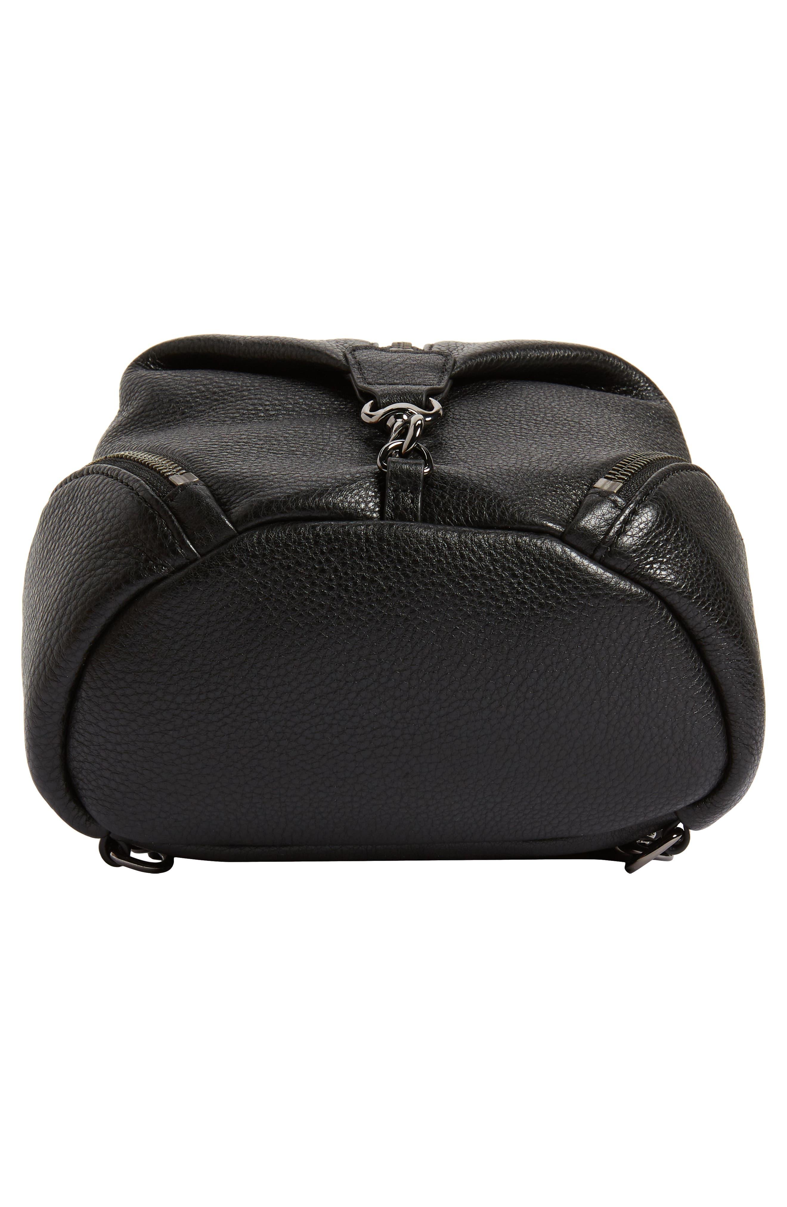 REBECCA MINKOFF, Mini Julian Pebbled Leather Convertible Backpack, Alternate thumbnail 8, color, BLACK