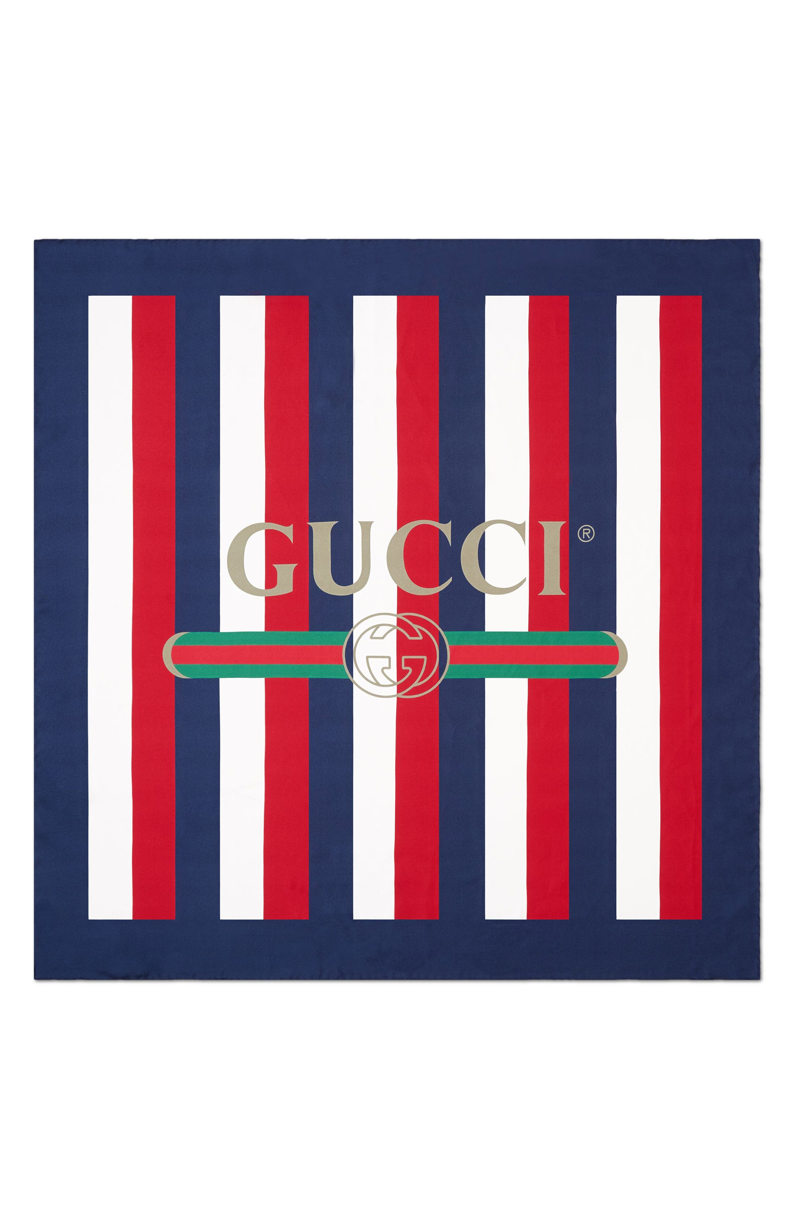 GUCCI Sylvie Stripe Silk Scarf, Main, color, IVORY/ BLUE