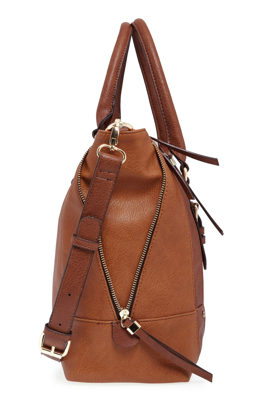 SOLE SOCIETY, 'Susan' Winged Faux Leather Tote, Alternate thumbnail 5, color, BROWN