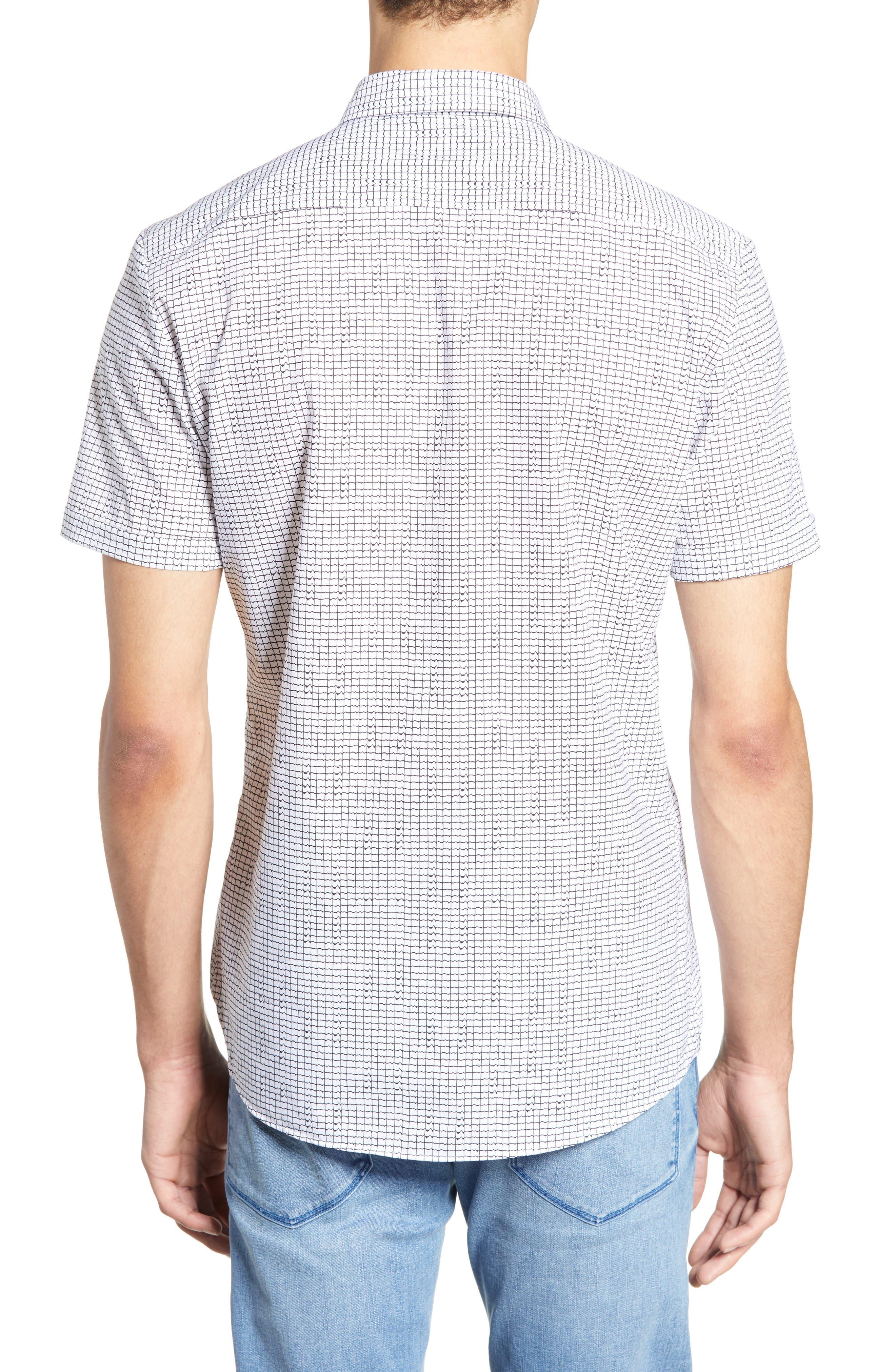 HUGO, Empson Slim Fit Print Sport Shirt, Alternate thumbnail 3, color, WHITE