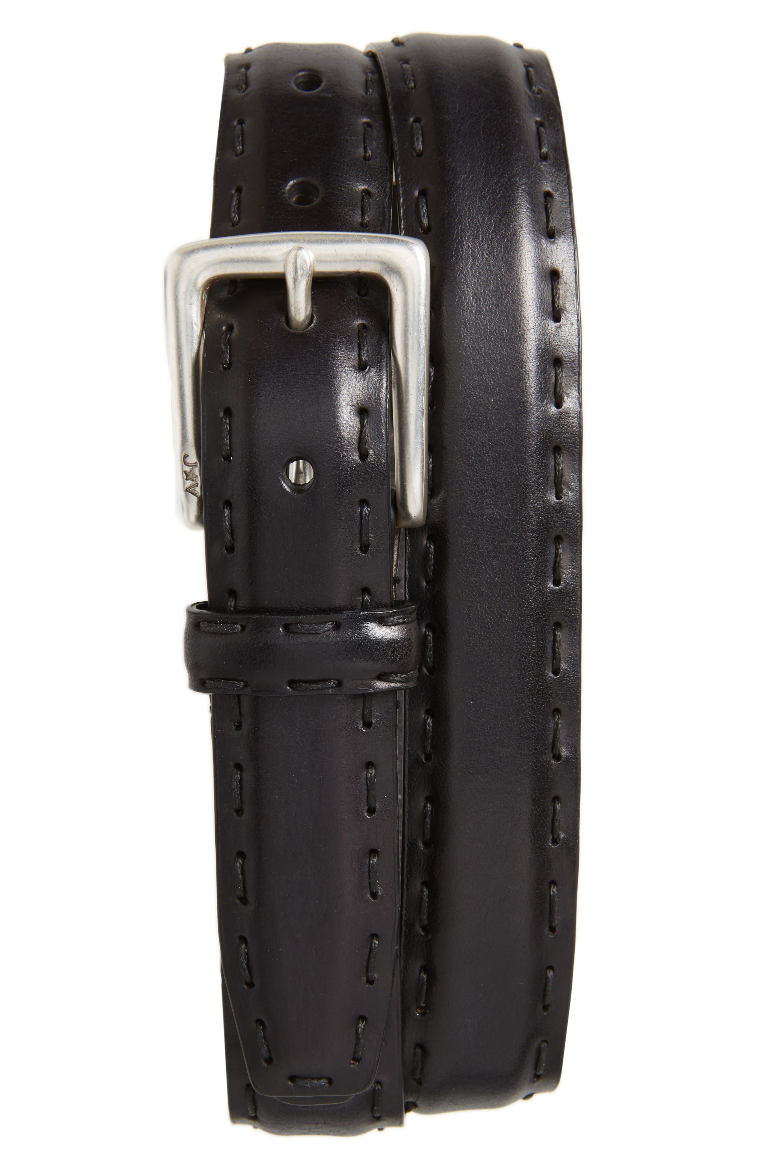 JOHN VARVATOS STAR USA Pickstitch Feather Edge Leather Belt, Main, color, BLACK