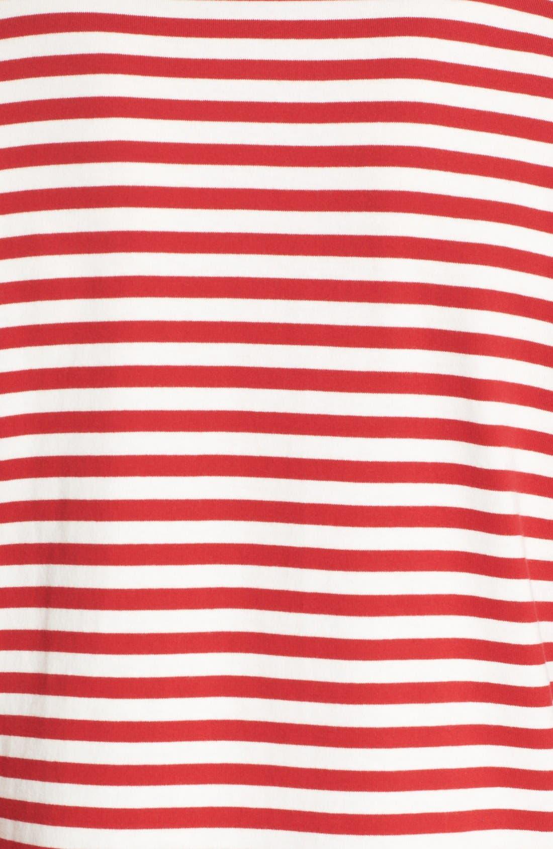 COMME DES GARÇONS PLAY, Stripe Long Sleeve T-Shirt, Alternate thumbnail 4, color, RED/ WHITE