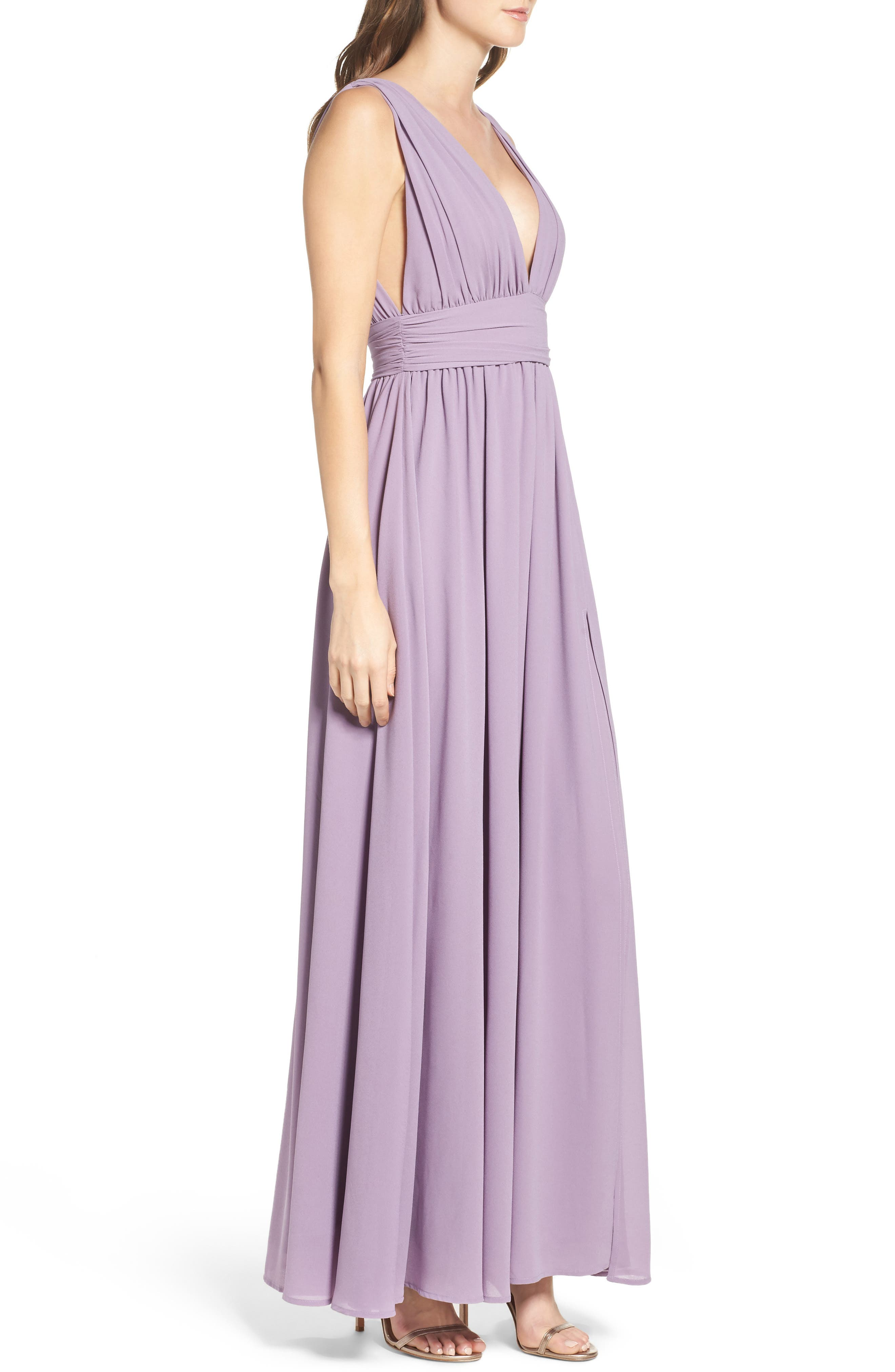 LULUS, Plunging V-Neck Chiffon Gown, Alternate thumbnail 4, color, DUSTY VIOLET