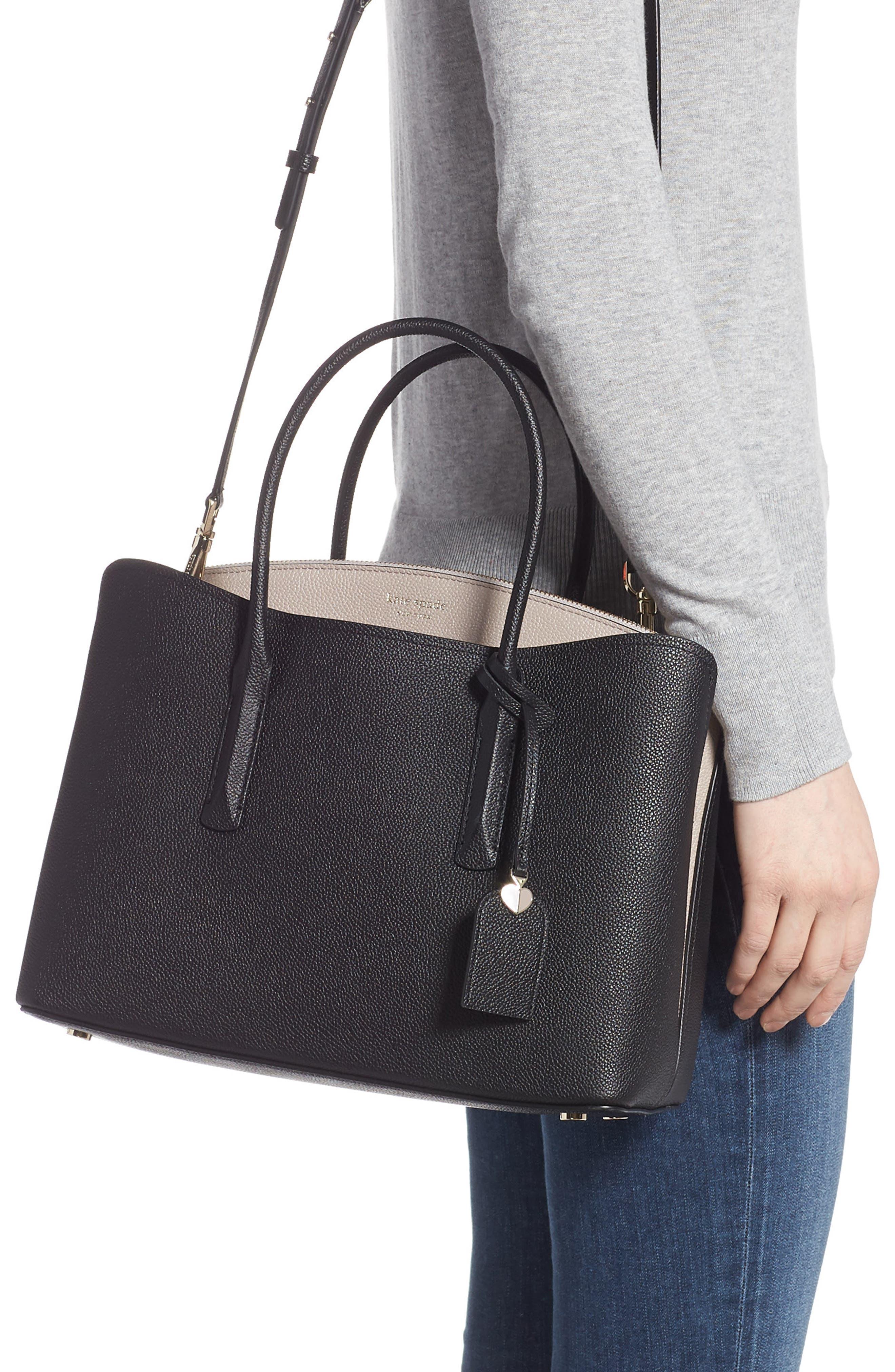 KATE SPADE NEW YORK, large margaux leather satchel, Alternate thumbnail 2, color, BLACK/ WARM TAUPE