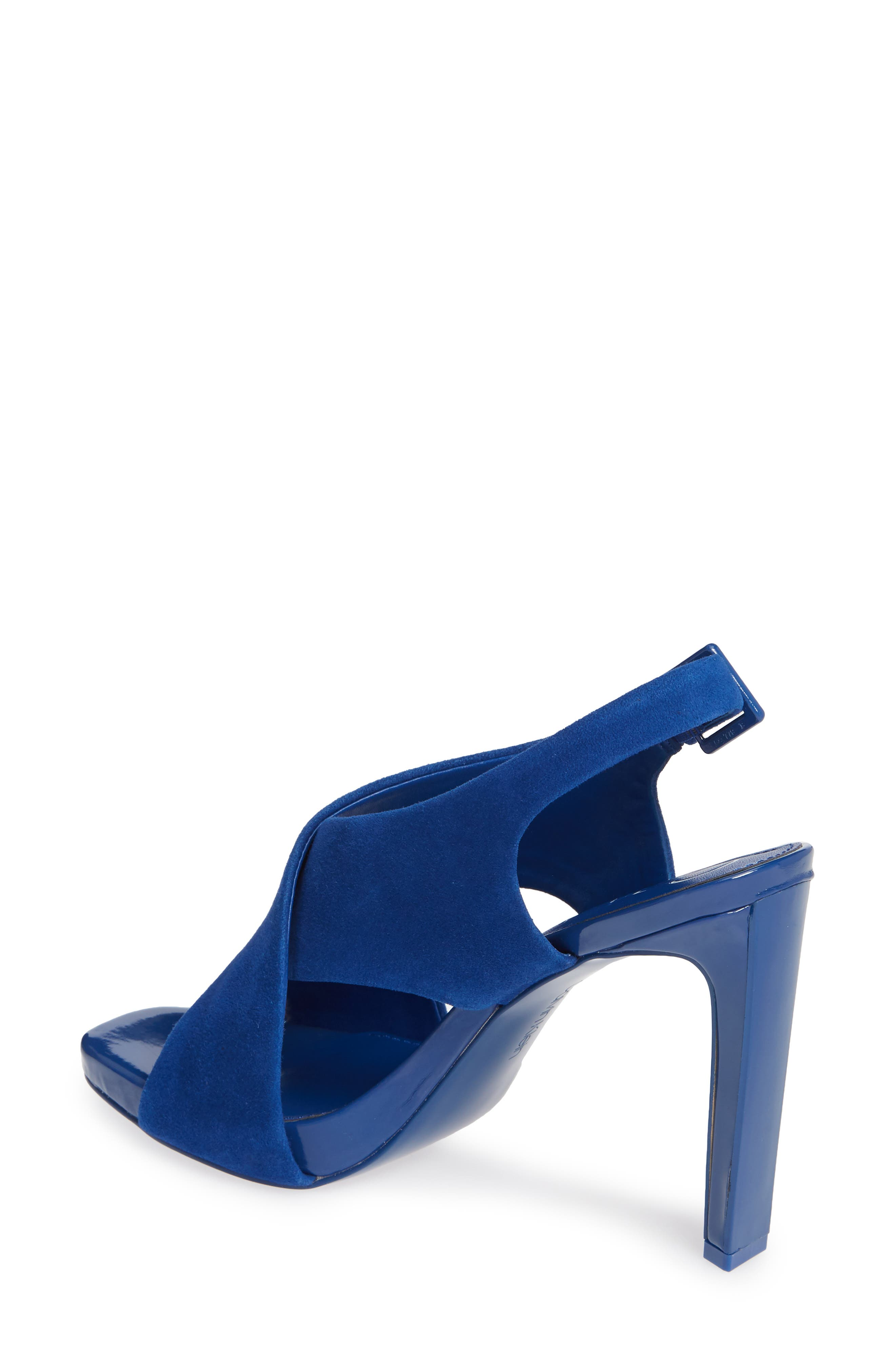 CALVIN KLEIN, Myra Cross Strap Sandal, Alternate thumbnail 2, color, ROYAL BLUE SUEDE