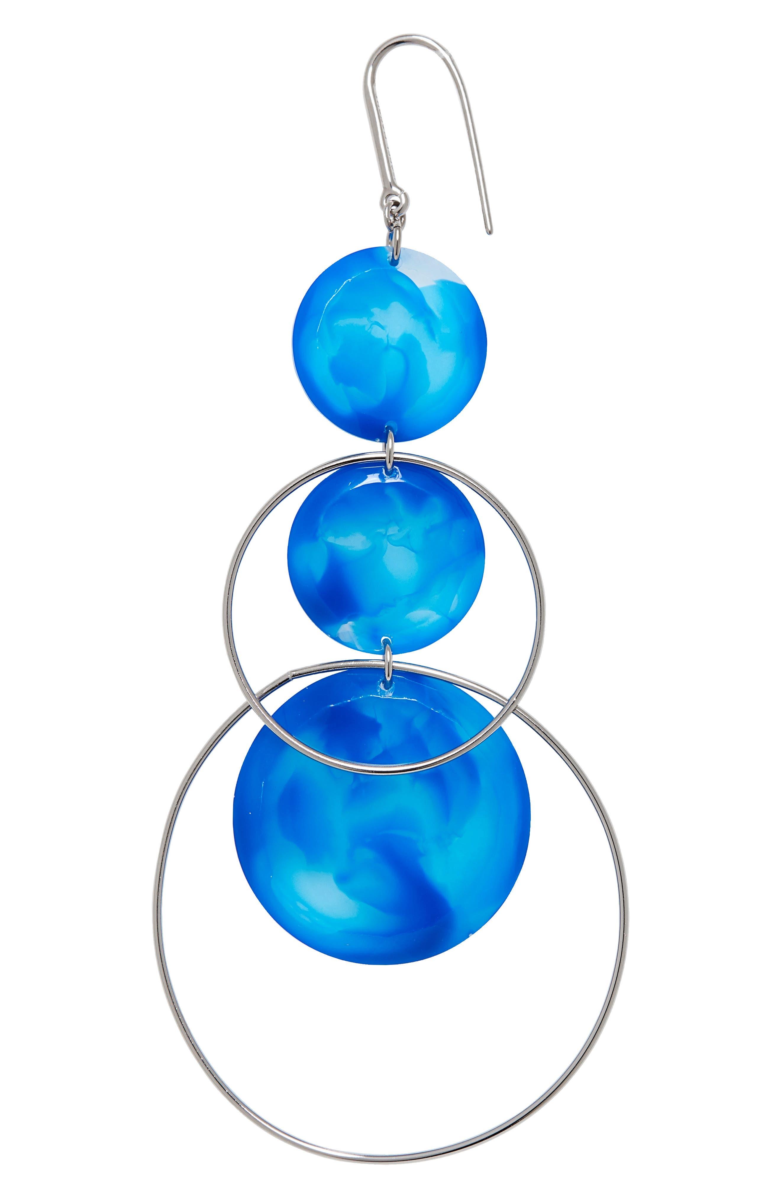 ISABEL MARANT, Harlem Circle Drop Earrings, Alternate thumbnail 3, color, BLUE