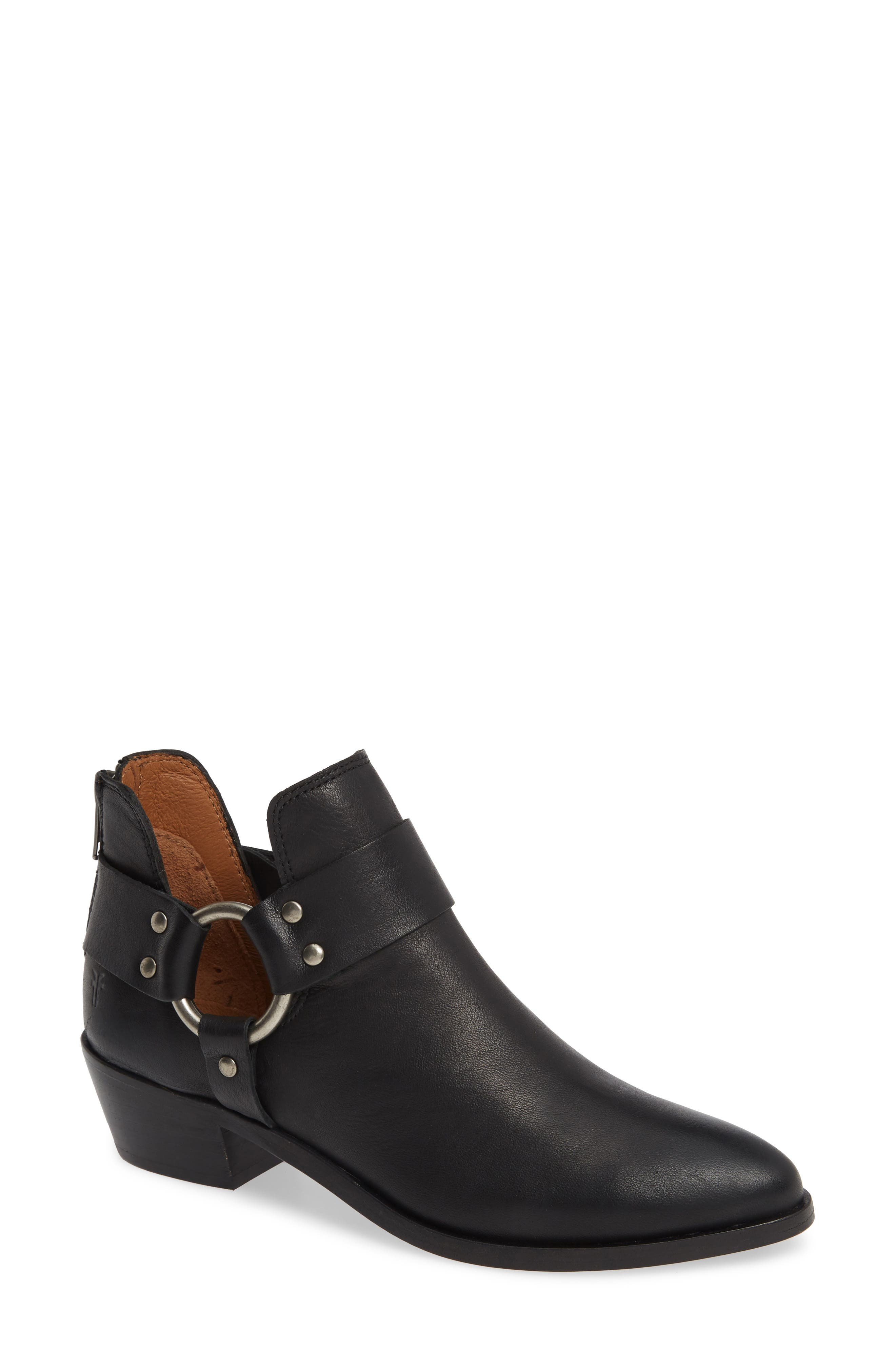 FRYE, Ray Low Harness Bootie, Main thumbnail 1, color, BLACK