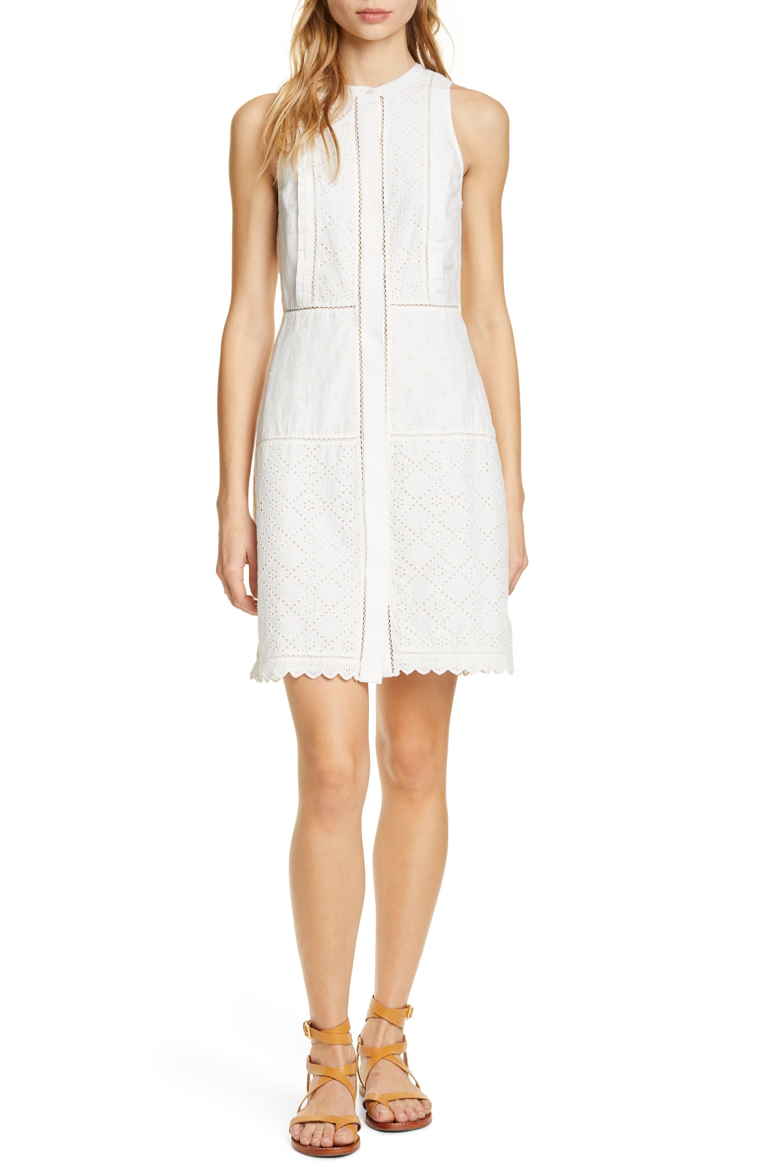 Joie Zakari Eyelet Detail Cotton & Silk Sleeveless Dress, Ivory
