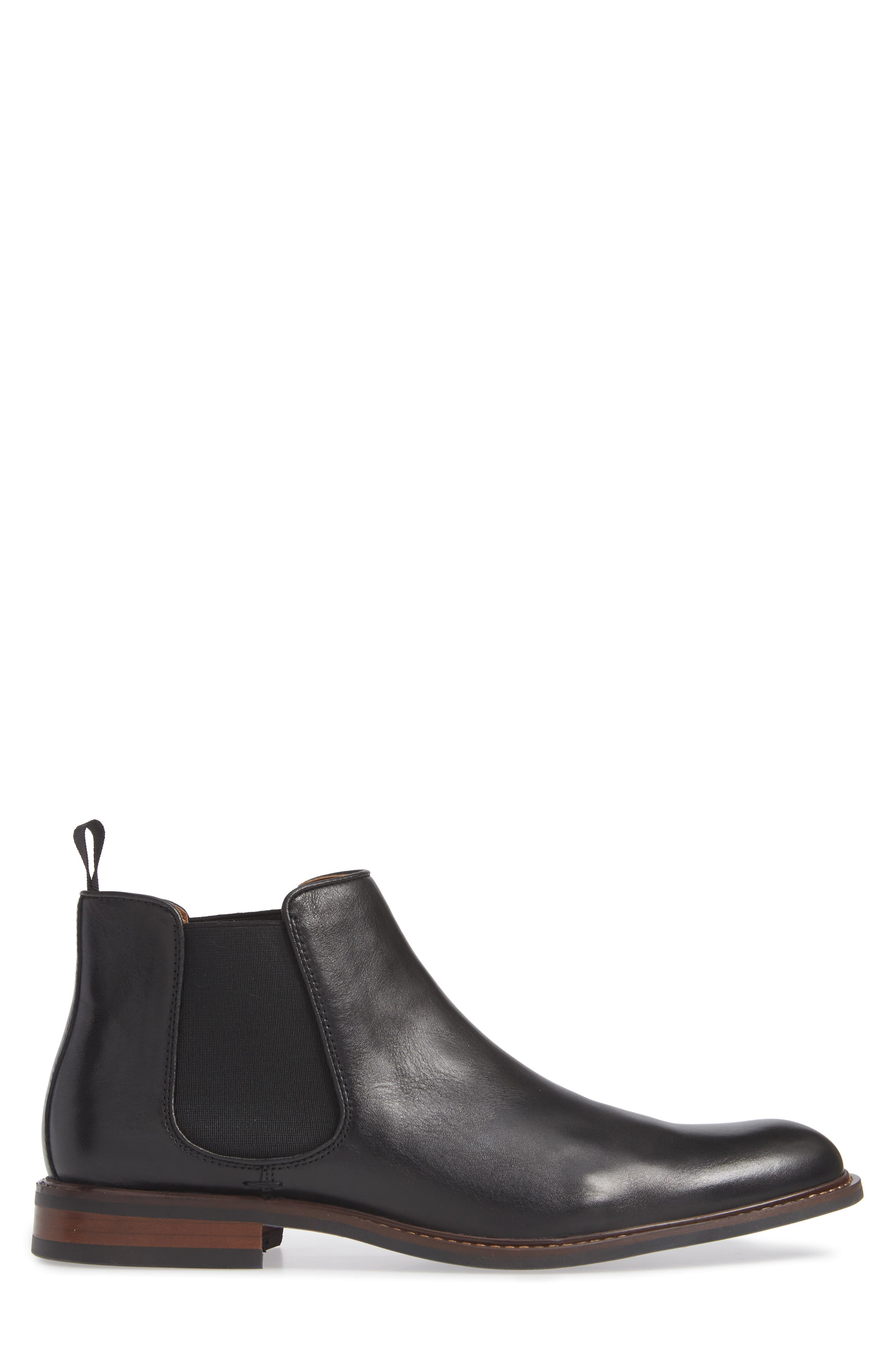 NORDSTROM MEN'S SHOP, David Chelsea Boot, Alternate thumbnail 3, color, BLACK LEATHER