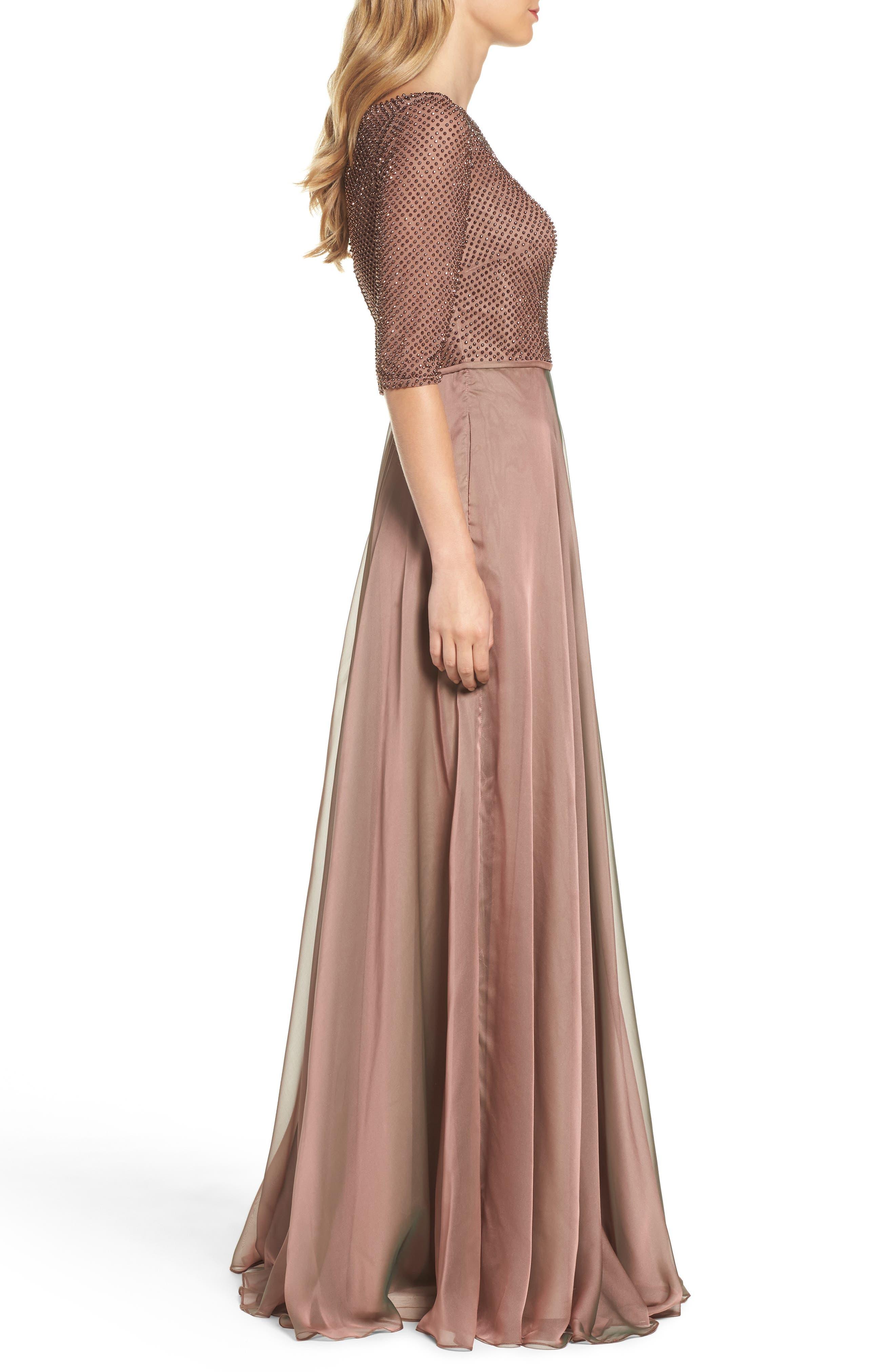 LA FEMME, Embellished Bodice Gown, Alternate thumbnail 3, color, COCOA