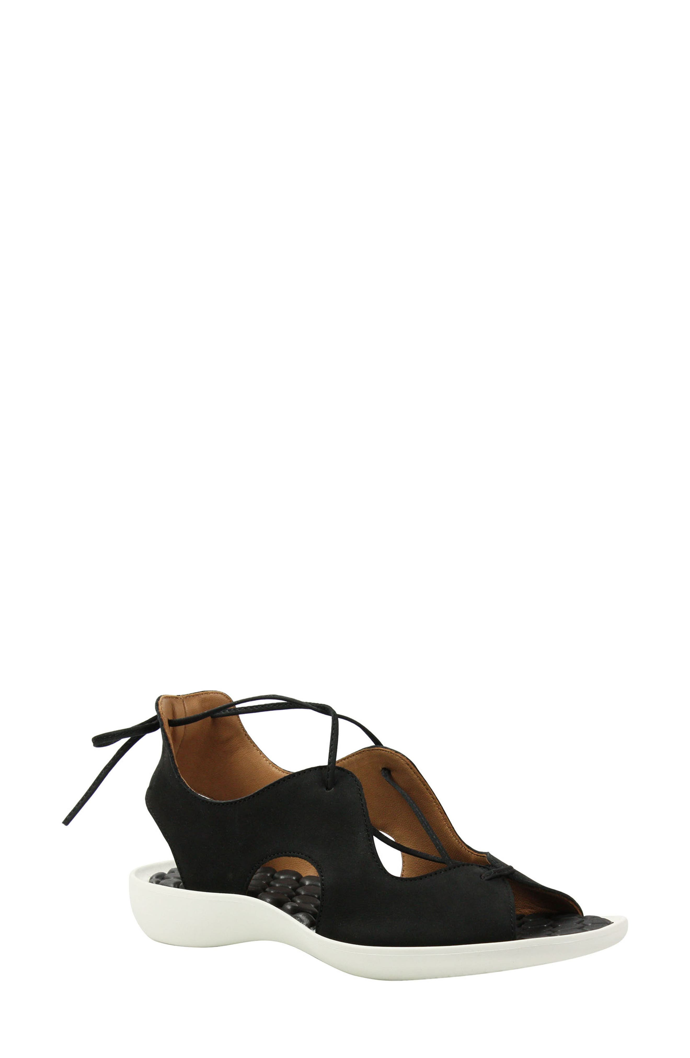 L'AMOUR DES PIEDS, Nesimah Lace-Up Sandal, Main thumbnail 1, color, BLACK NUBUCK LEATHER