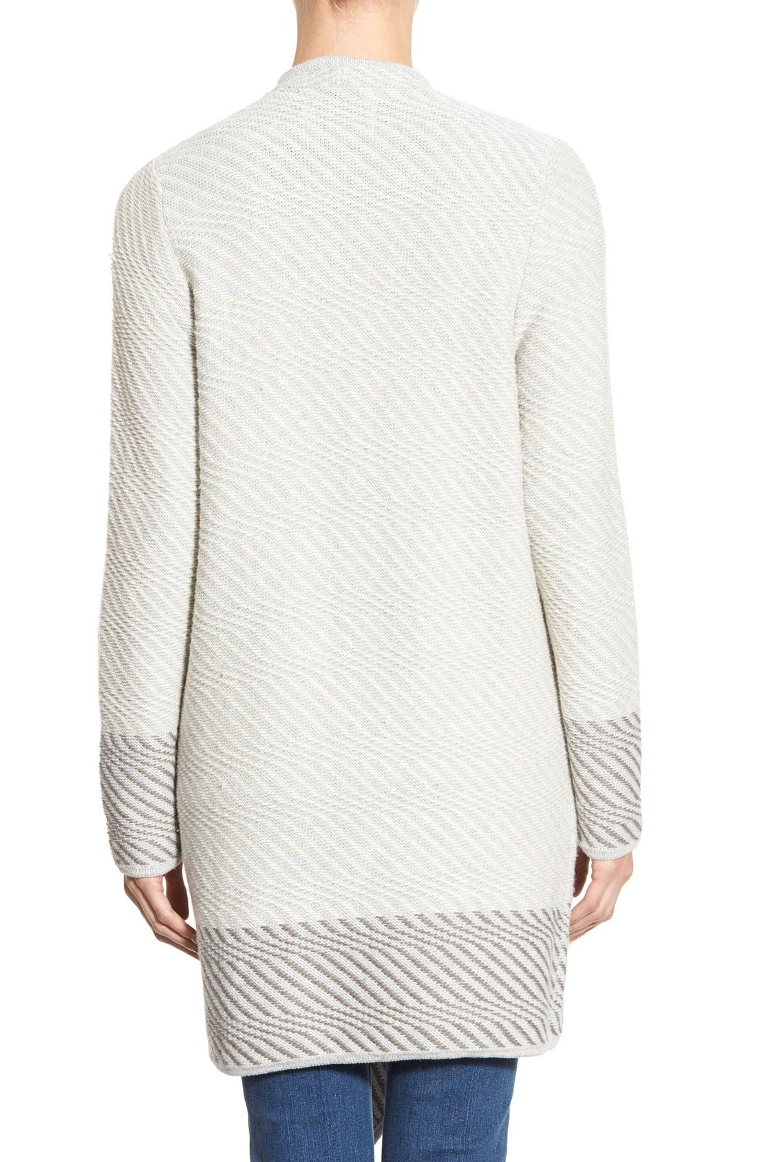 LUCKY BRAND, Waterfall Cardigan, Alternate thumbnail 3, color, 100
