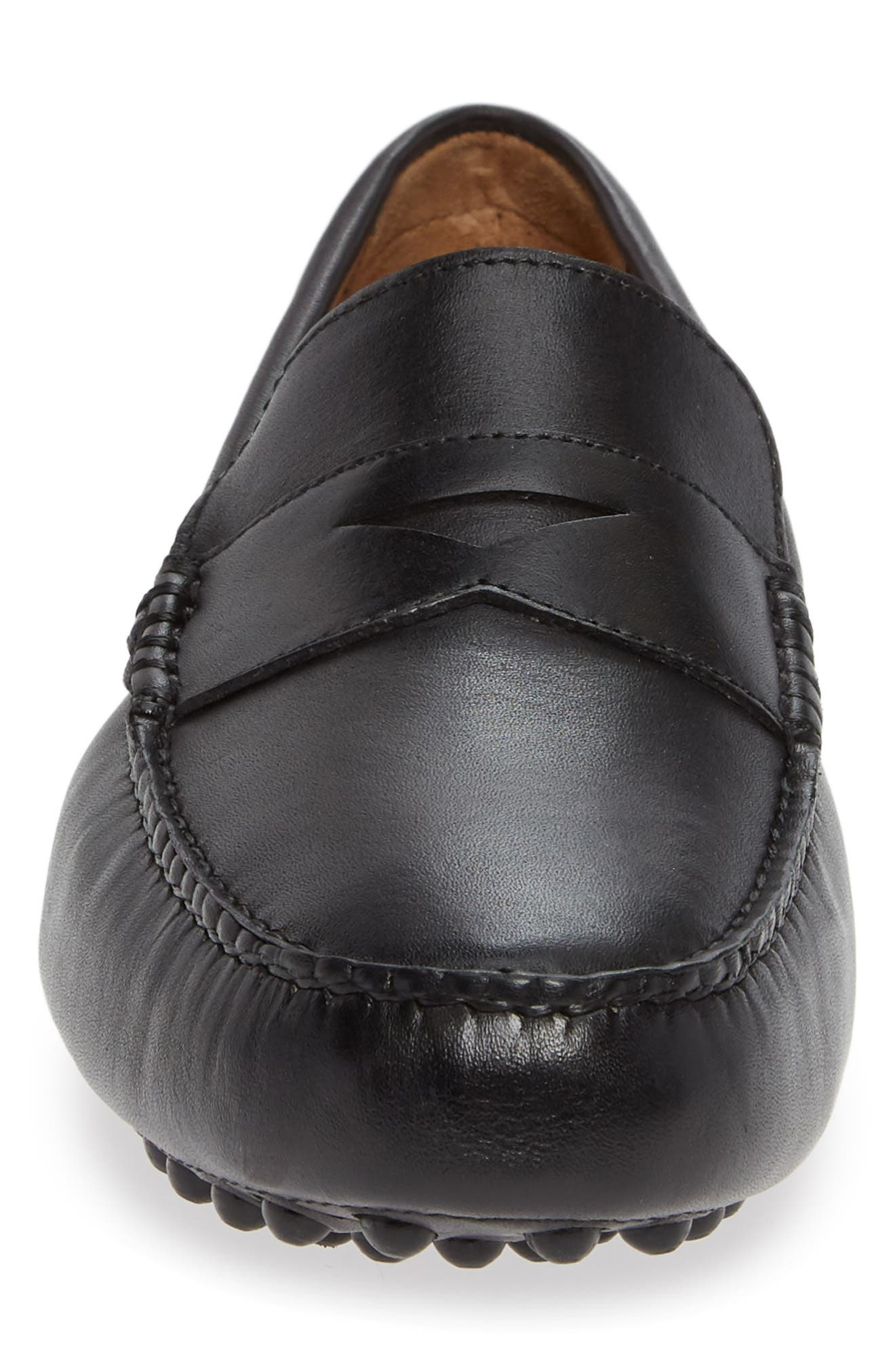 NORDSTROM MEN'S SHOP, Patrick Driving Moccasin, Alternate thumbnail 4, color, BLACK LEATHER