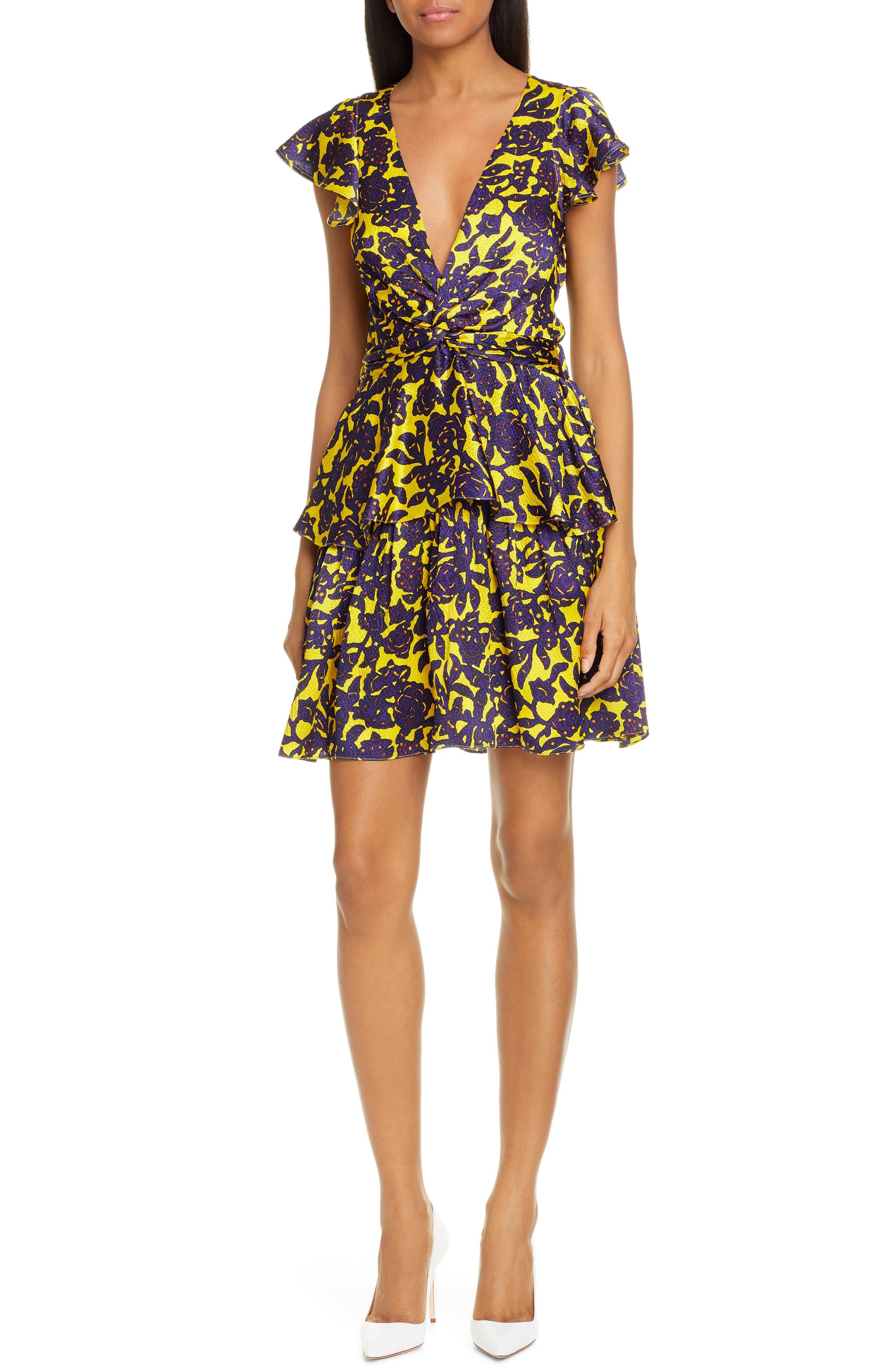 A.l.c. Viera Print Silk Dress, Yellow