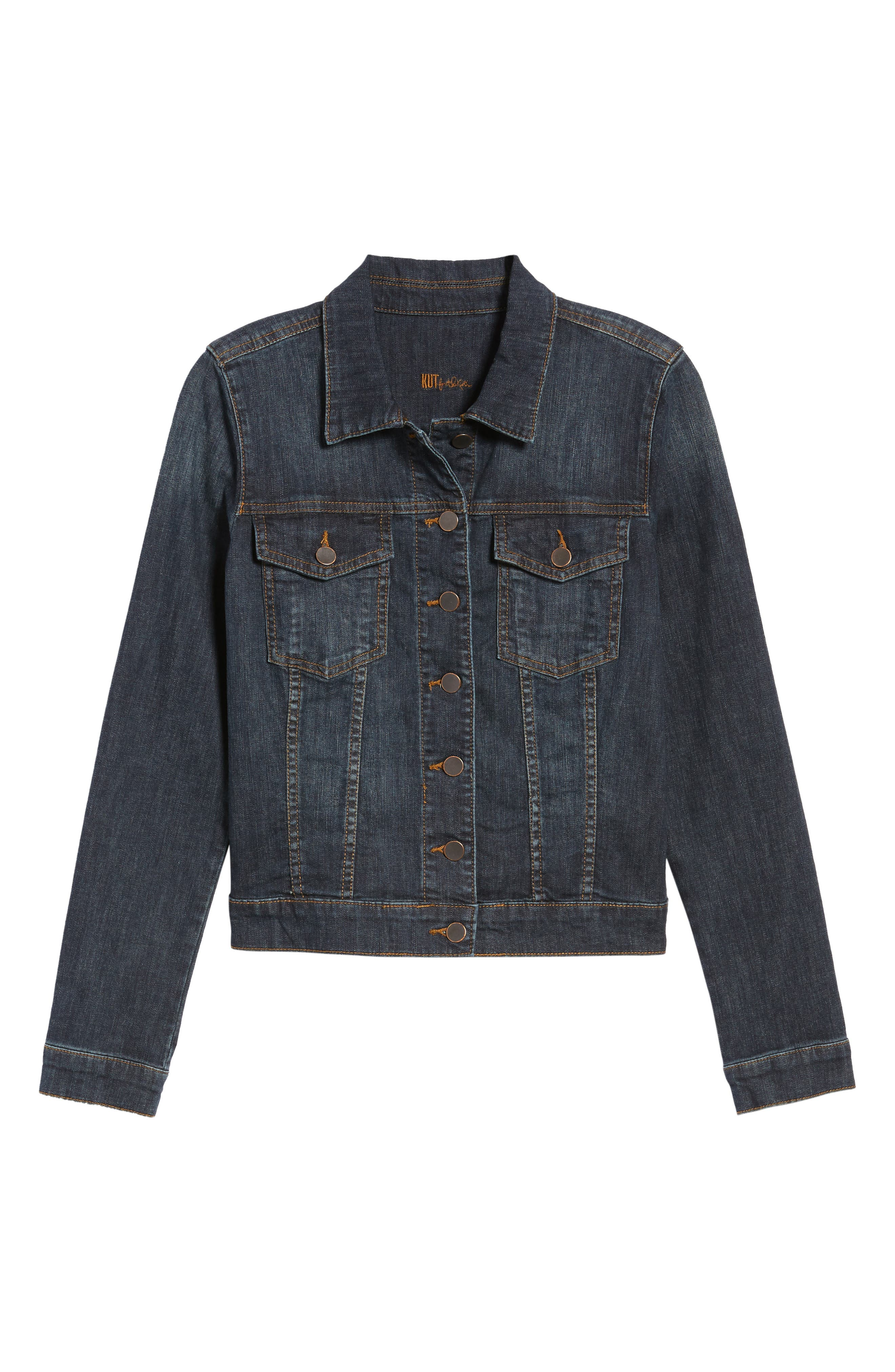 KUT FROM THE KLOTH, 'Helena' Denim Jacket, Alternate thumbnail 6, color, GRATITUDE