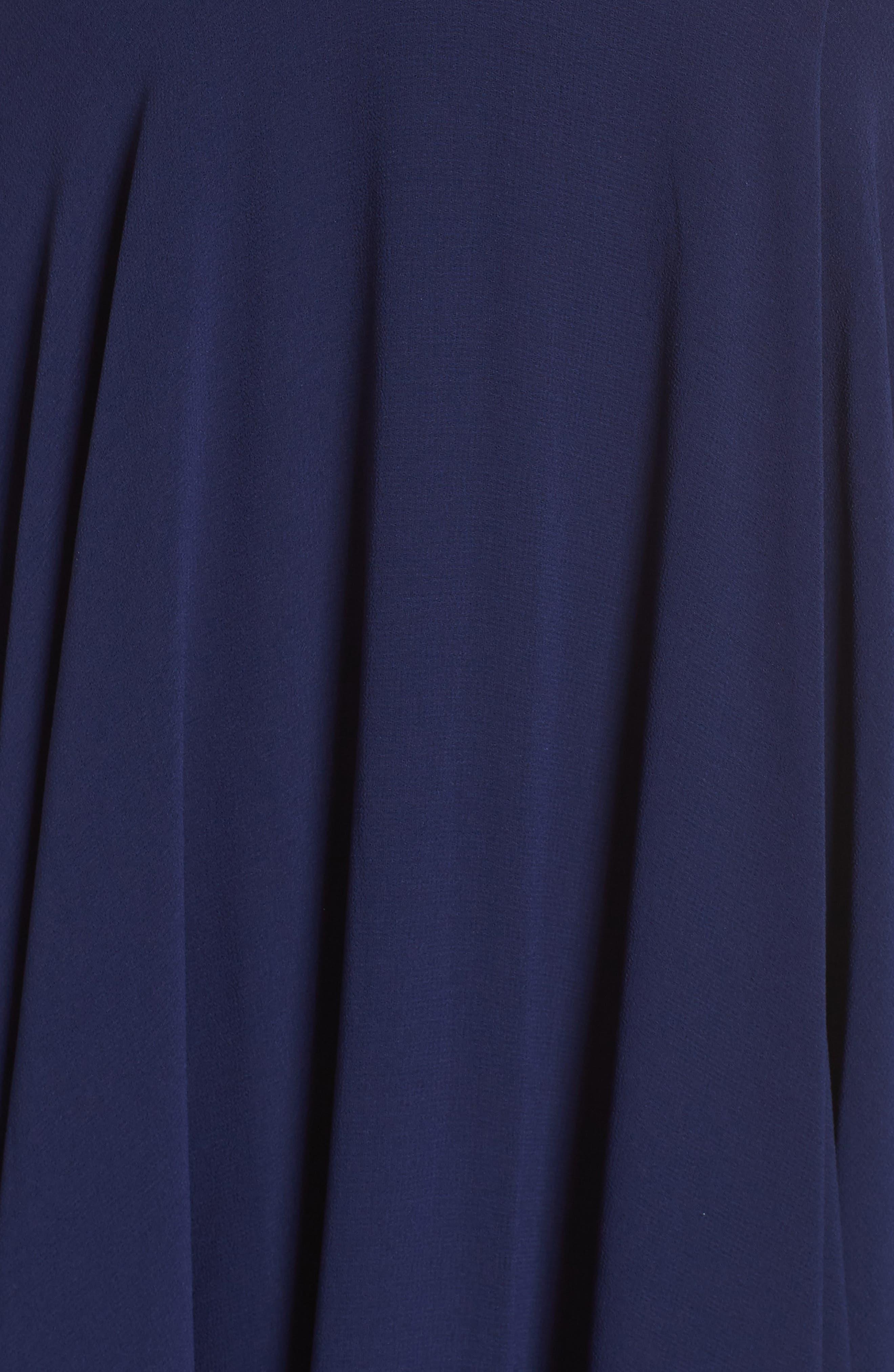 LULUS, Surplice Chiffon Gown, Alternate thumbnail 6, color, NAVY