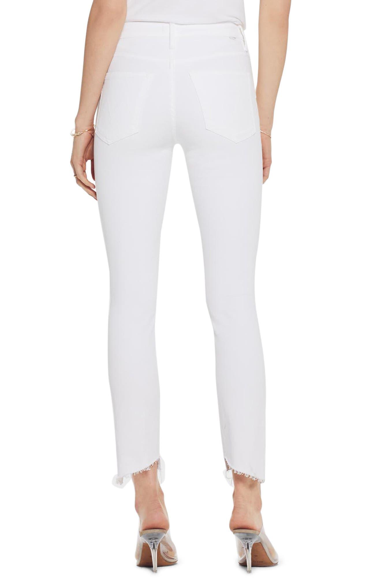 MOTHER, The Stunner Frayed Step Hem Skinny Jeans, Alternate thumbnail 2, color, GLASS SLIPPER