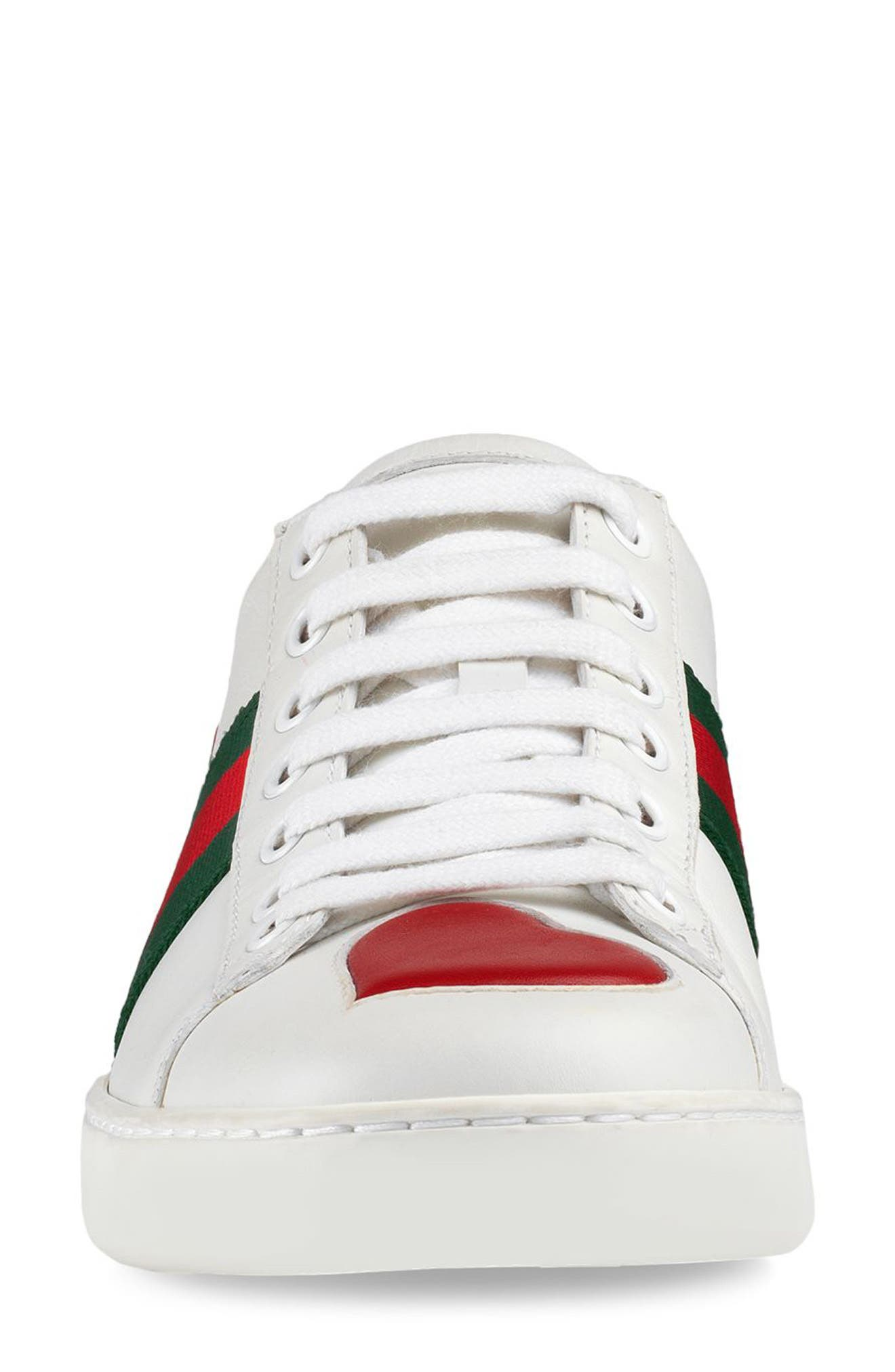 GUCCI, New Ace Heart Sneaker, Alternate thumbnail 3, color, WHITE