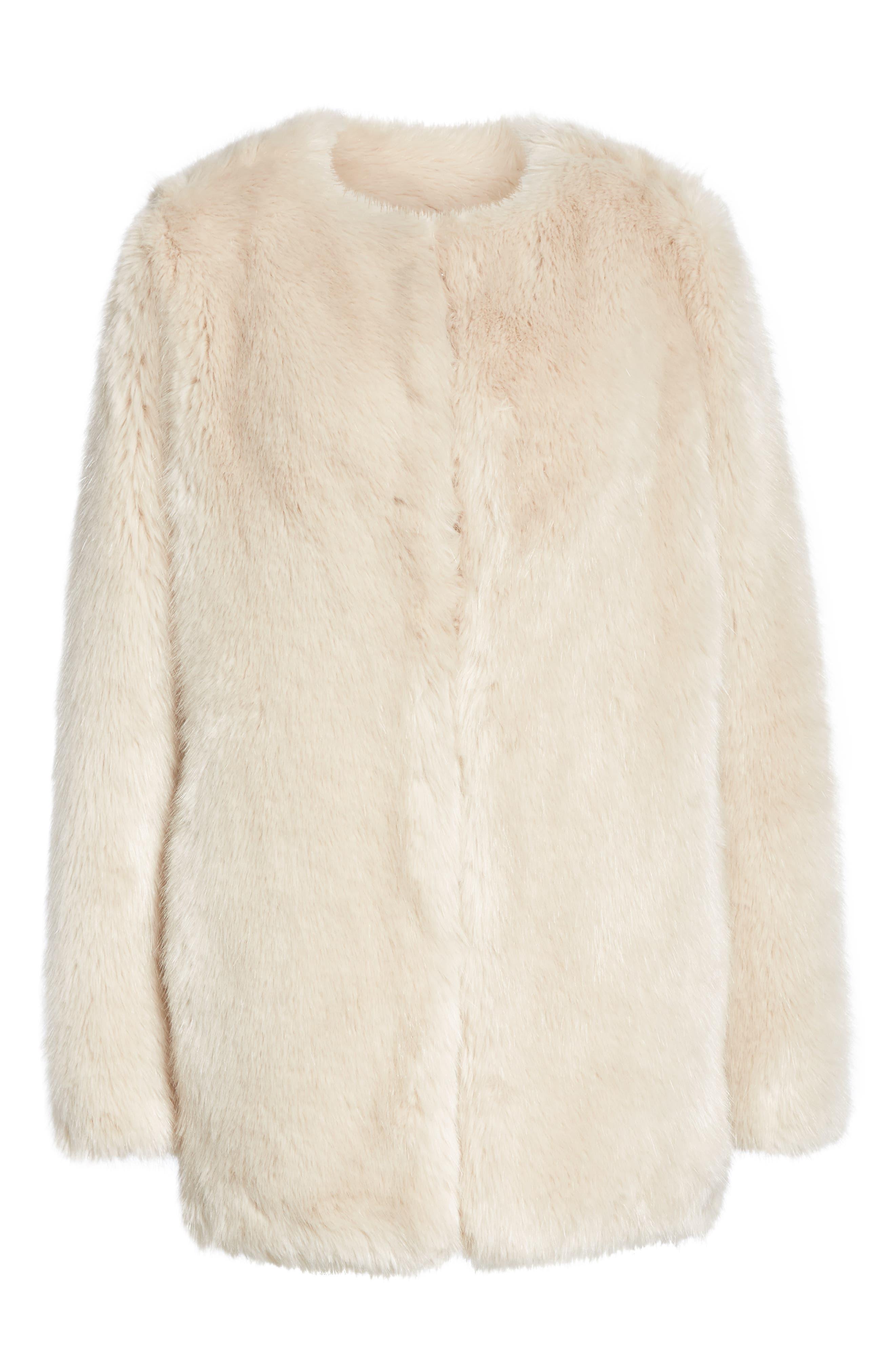 HELMUT LANG, Faux Fur Coat, Alternate thumbnail 6, color, OATMEAL