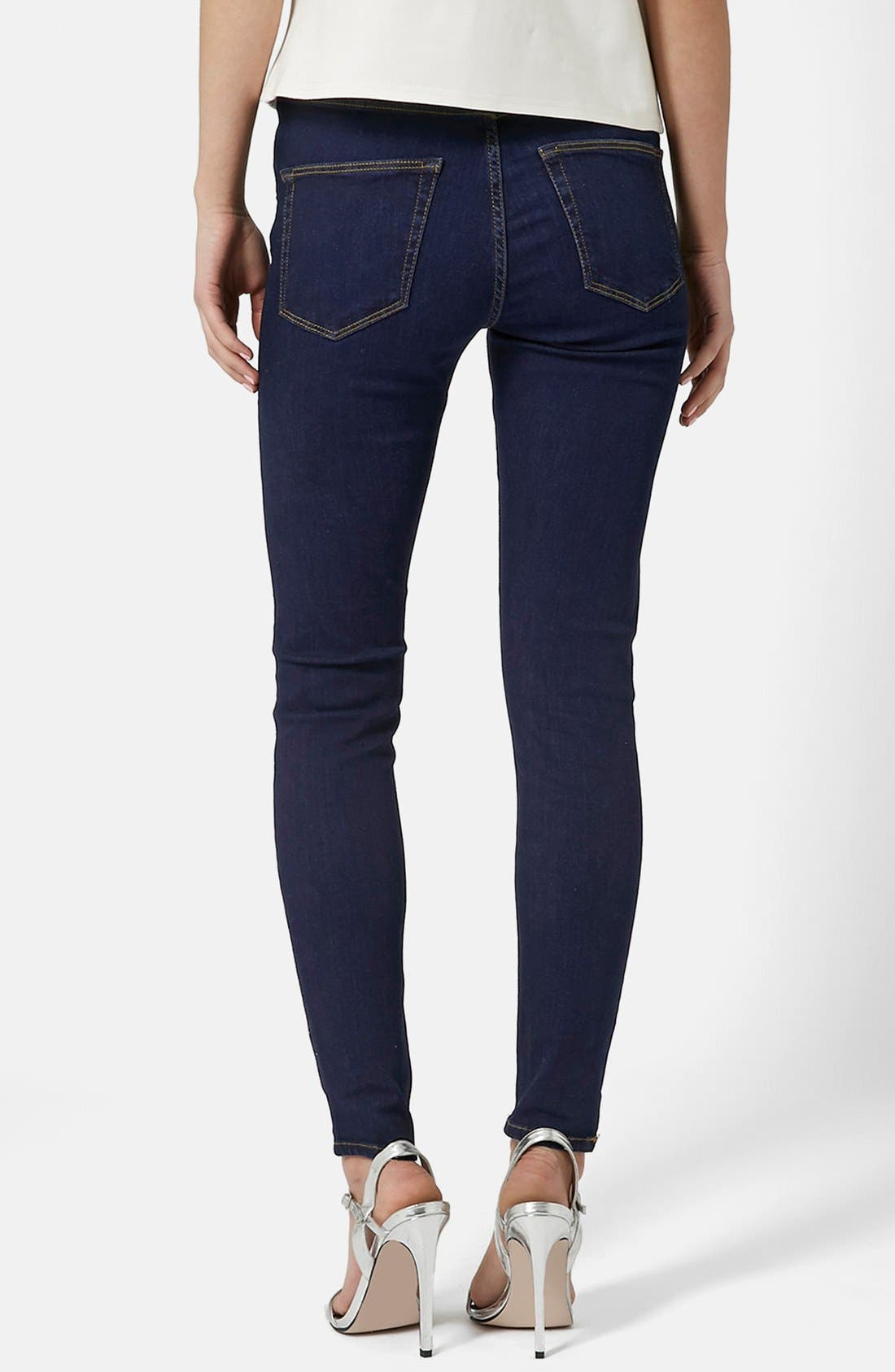 TOPSHOP, Moto 'Jamie' Skinny Jeans, Alternate thumbnail 4, color, 400
