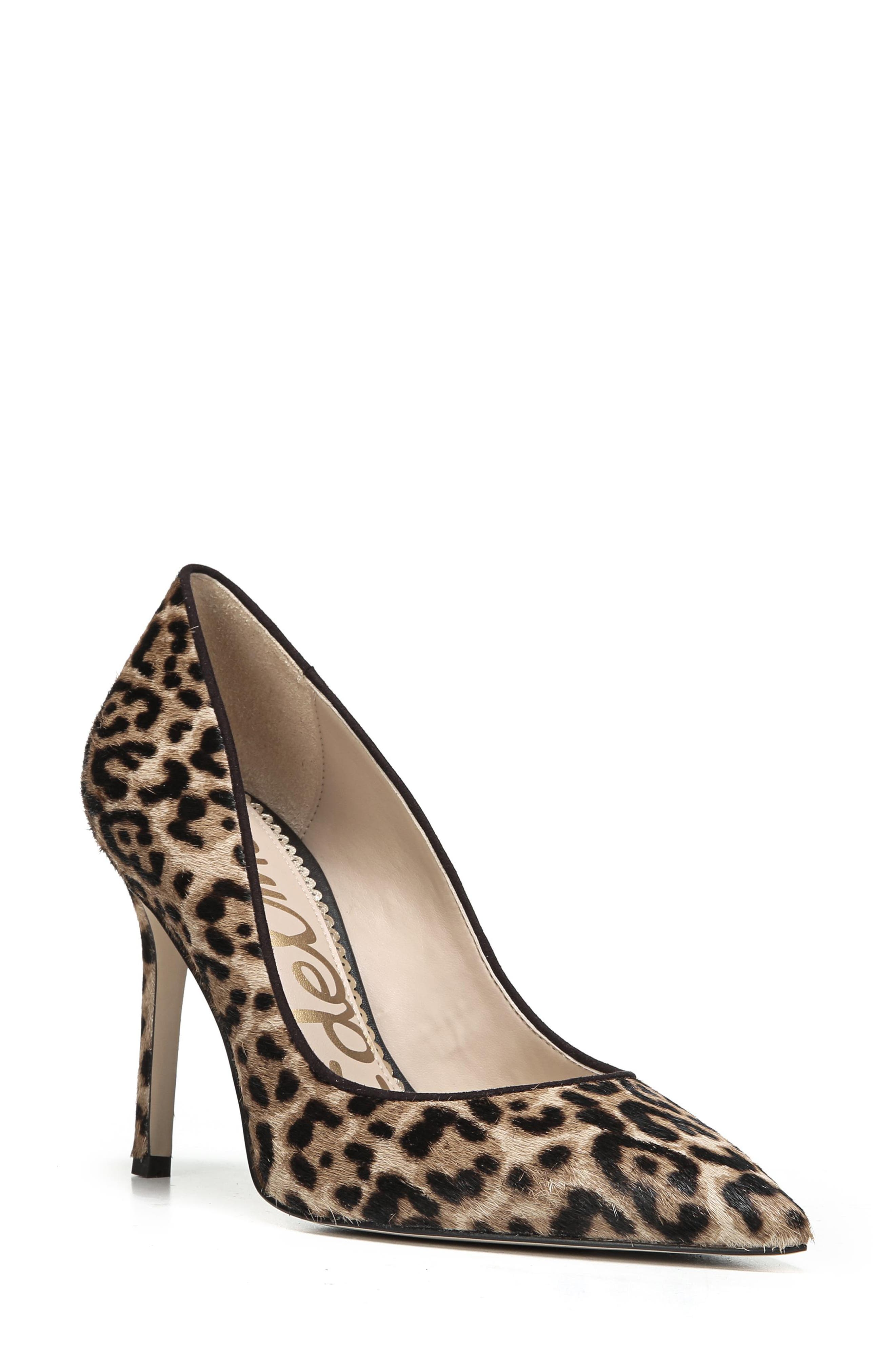 SAM EDELMAN, Hazel Pointy Toe Pump, Main thumbnail 1, color, LEOPARD CALF HAIR