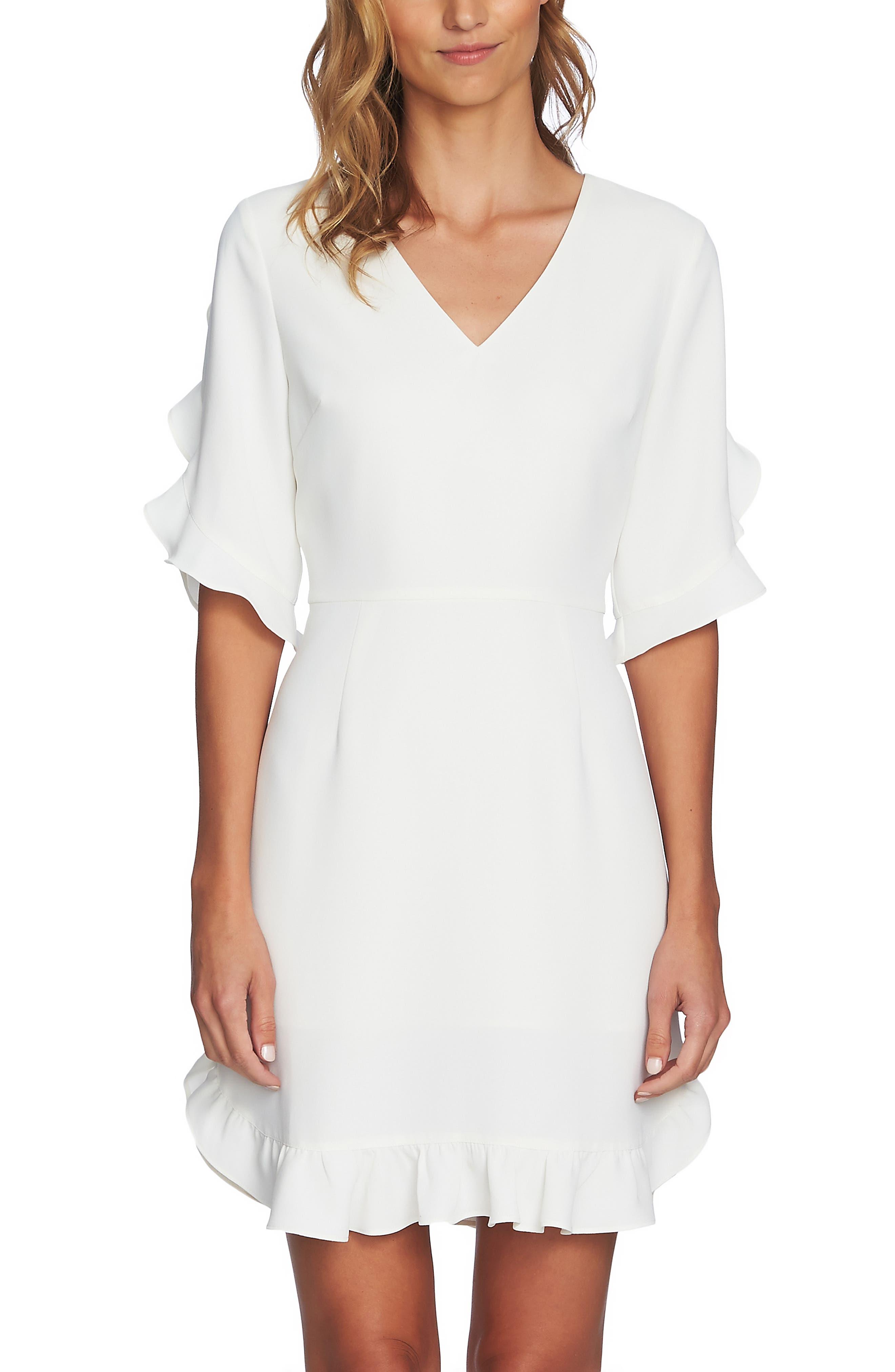 CECE, Ruffle V-Neck A-Line Dress, Main thumbnail 1, color, ANTIQUE WHITE