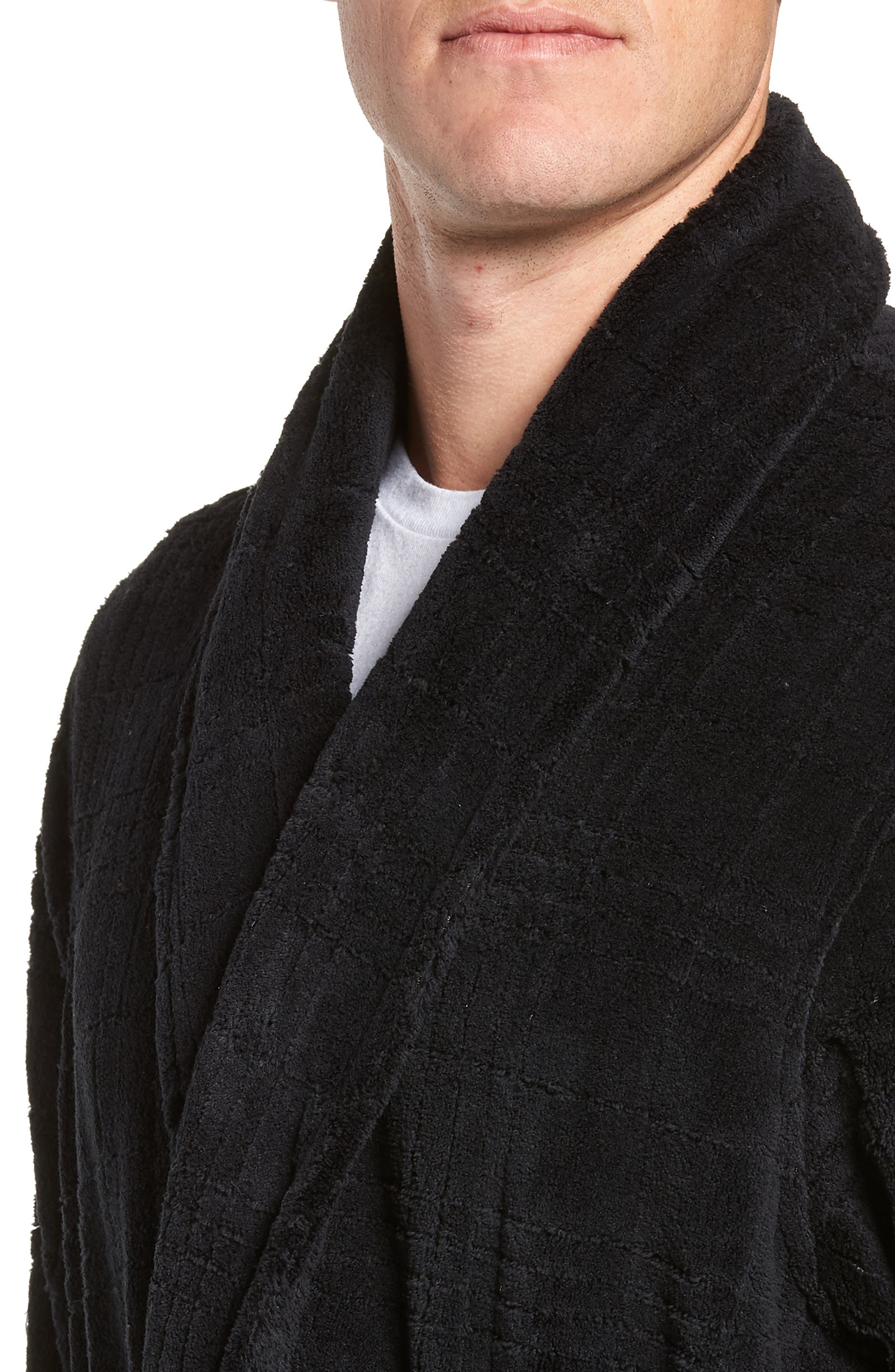 NORDSTROM MEN'S SHOP, Shadow Plaid Fleece Robe, Alternate thumbnail 4, color, BLACK