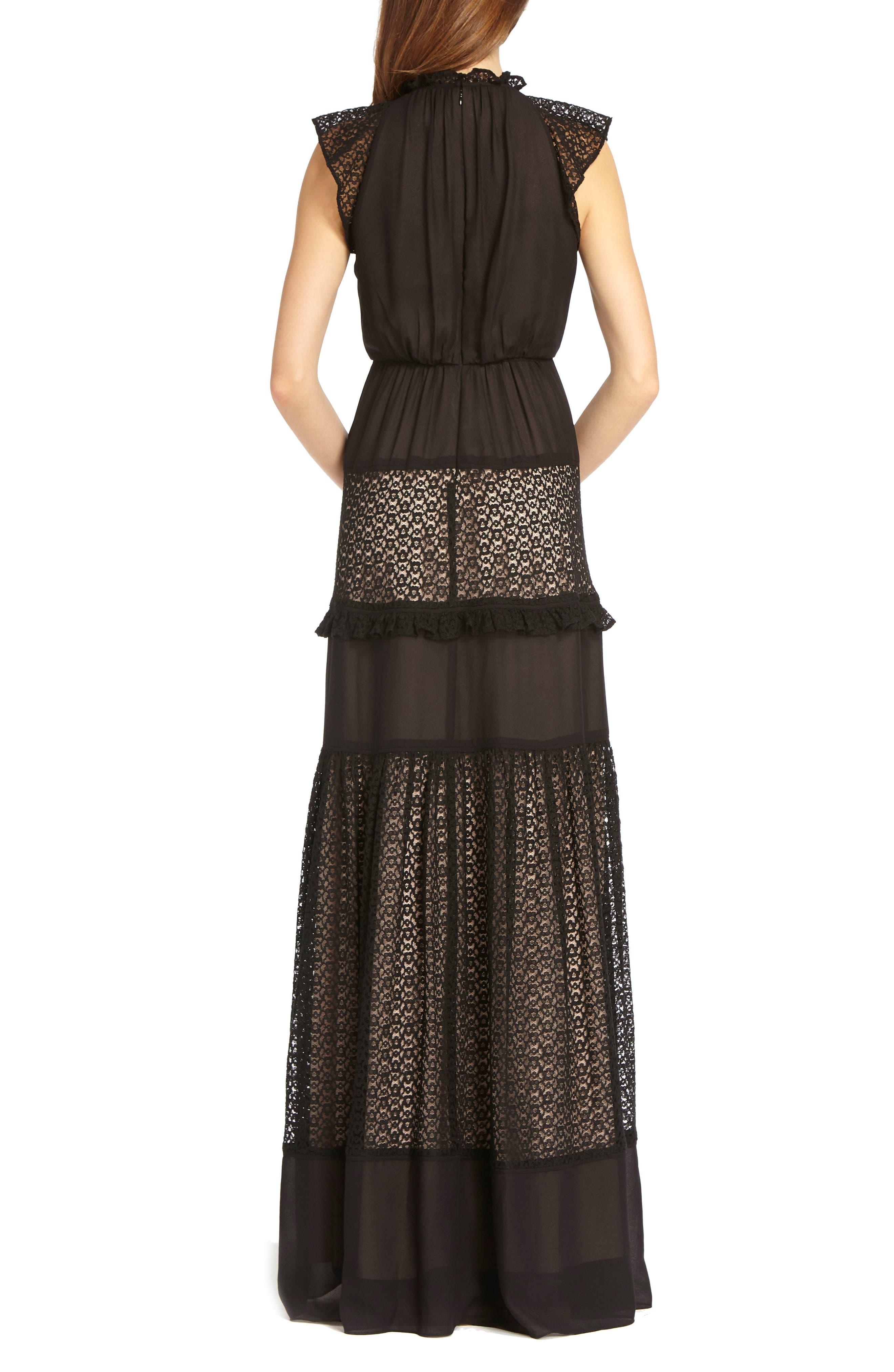 ML MONIQUE LHUILLIER, Lace Inset Gown, Alternate thumbnail 2, color, 001