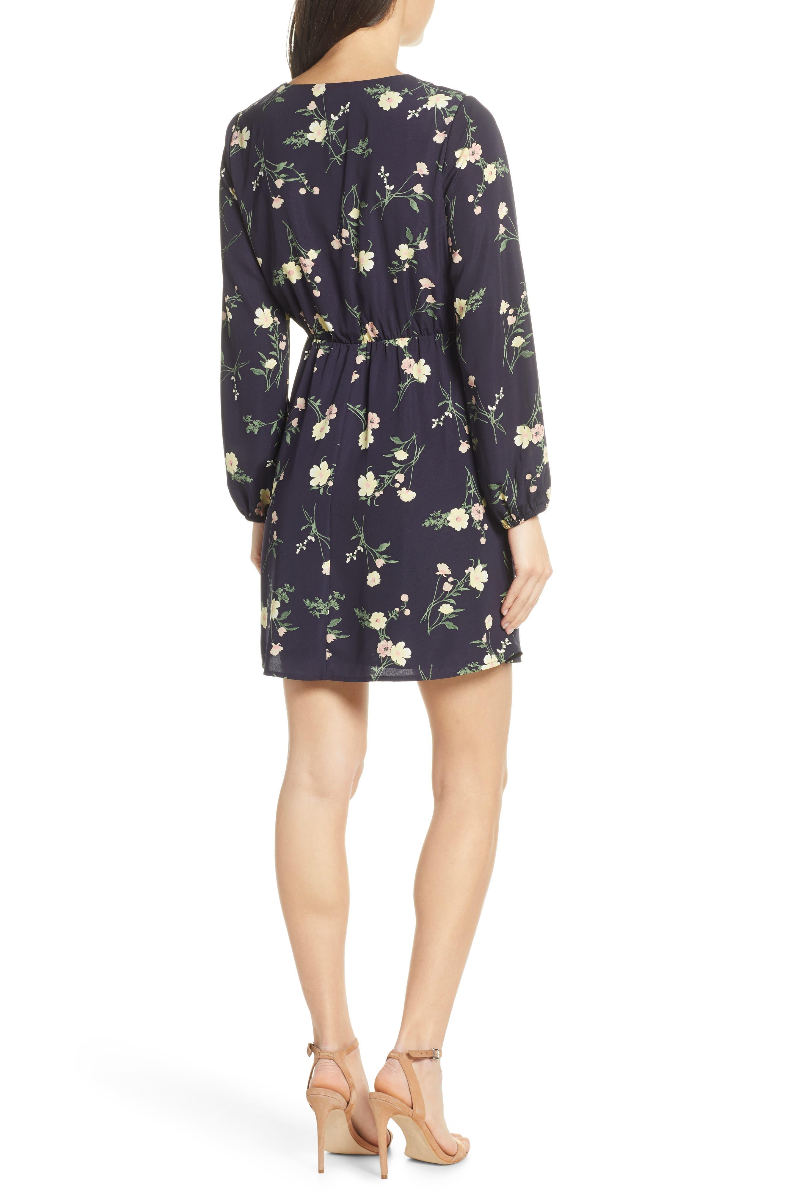 19 COOPER, Long Sleeve Floral Dress, Alternate thumbnail 2, color, NAVY FLORAL