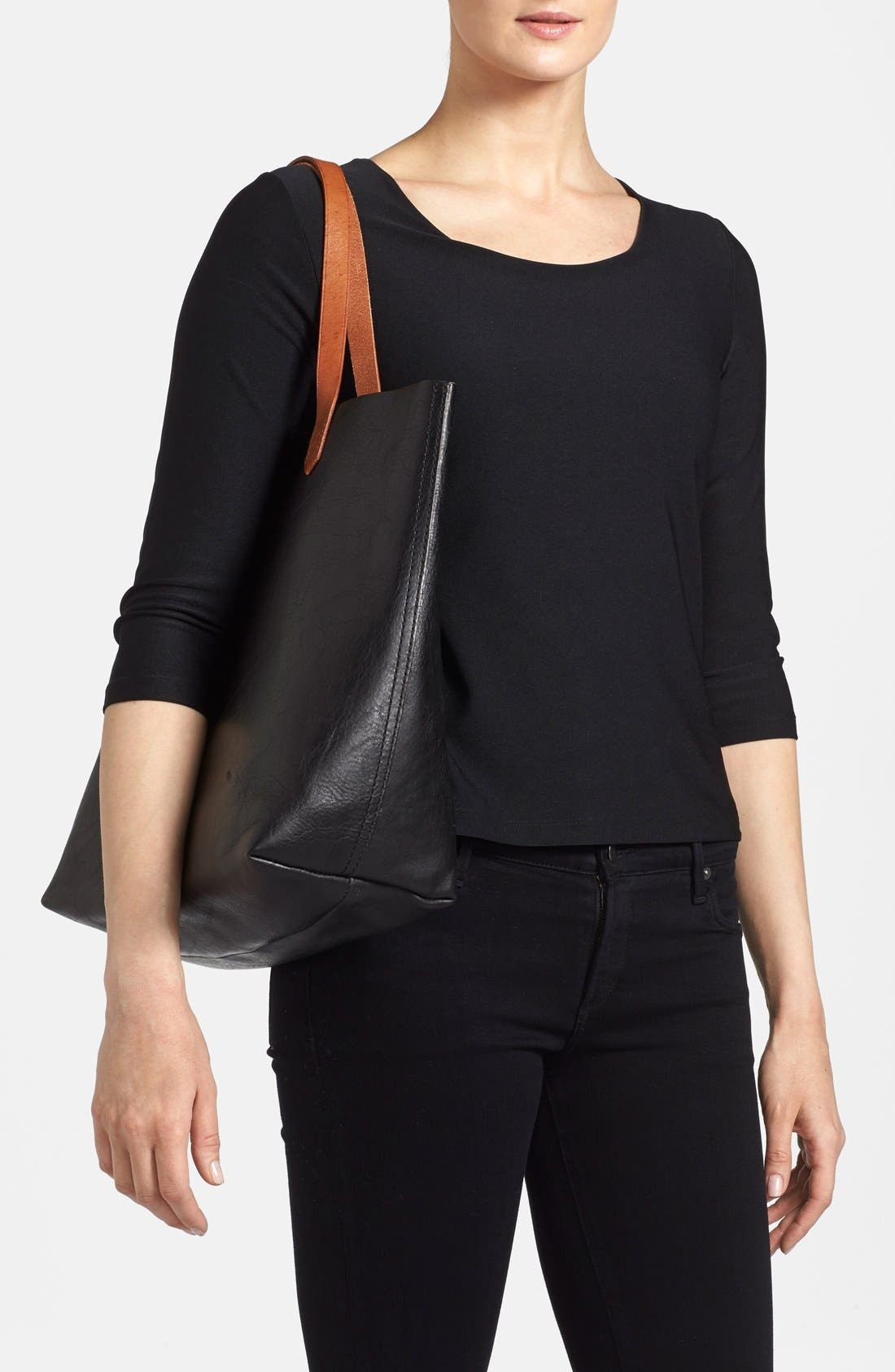 MADEWELL, 'The Transport' Leather Tote, Alternate thumbnail 2, color, TRUE BLACK