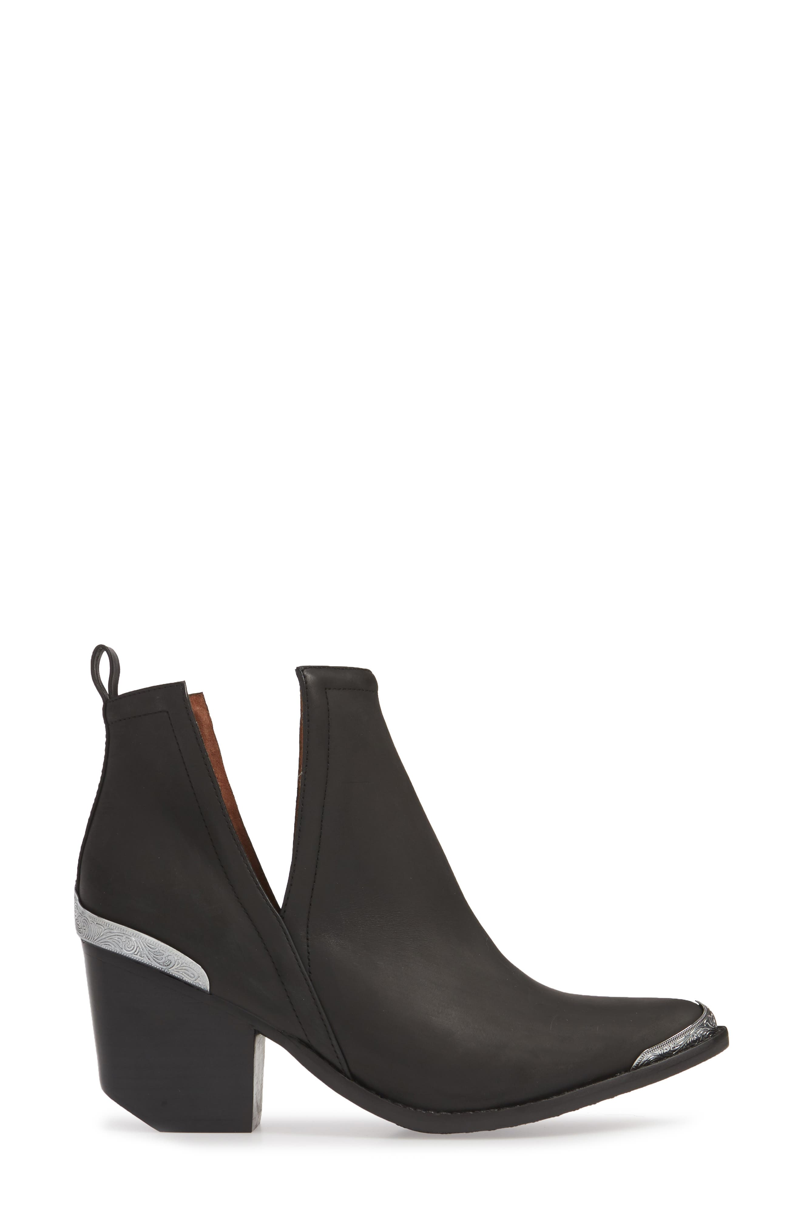 JEFFREY CAMPBELL, Cromwell Cutout Western Boot, Alternate thumbnail 4, color, BLACK DISTRESSED