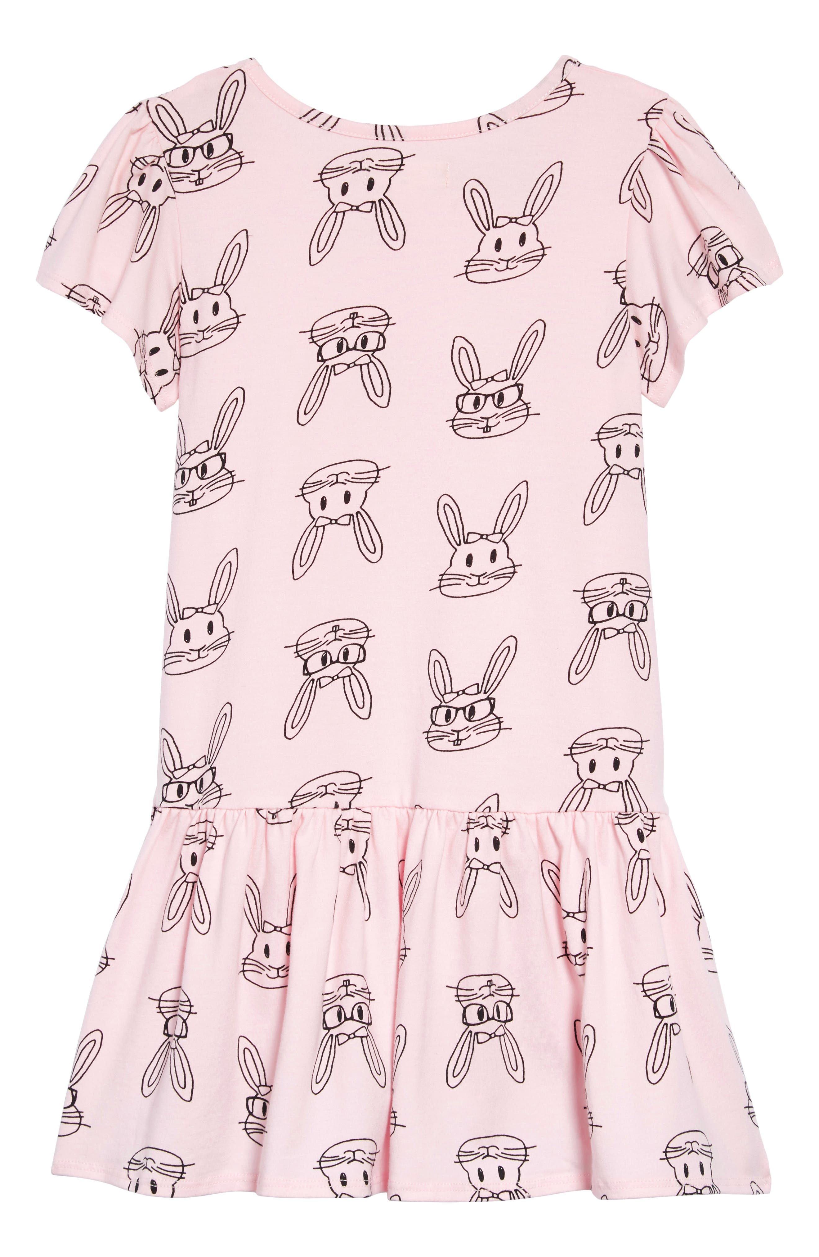 TUCKER + TATE, Tucker & Tate Print Jersey Dress, Alternate thumbnail 2, color, PINK AMOUR BUNNY DOODLE
